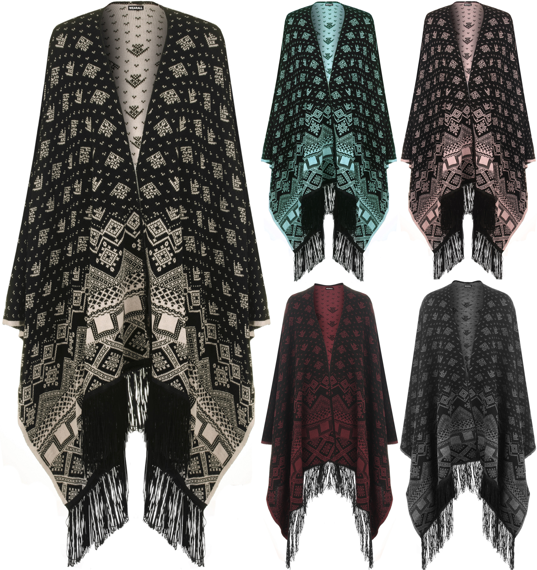 Womens Reversible Knitted Aztec Knitted Pattern Tassel Cape Shawl ...