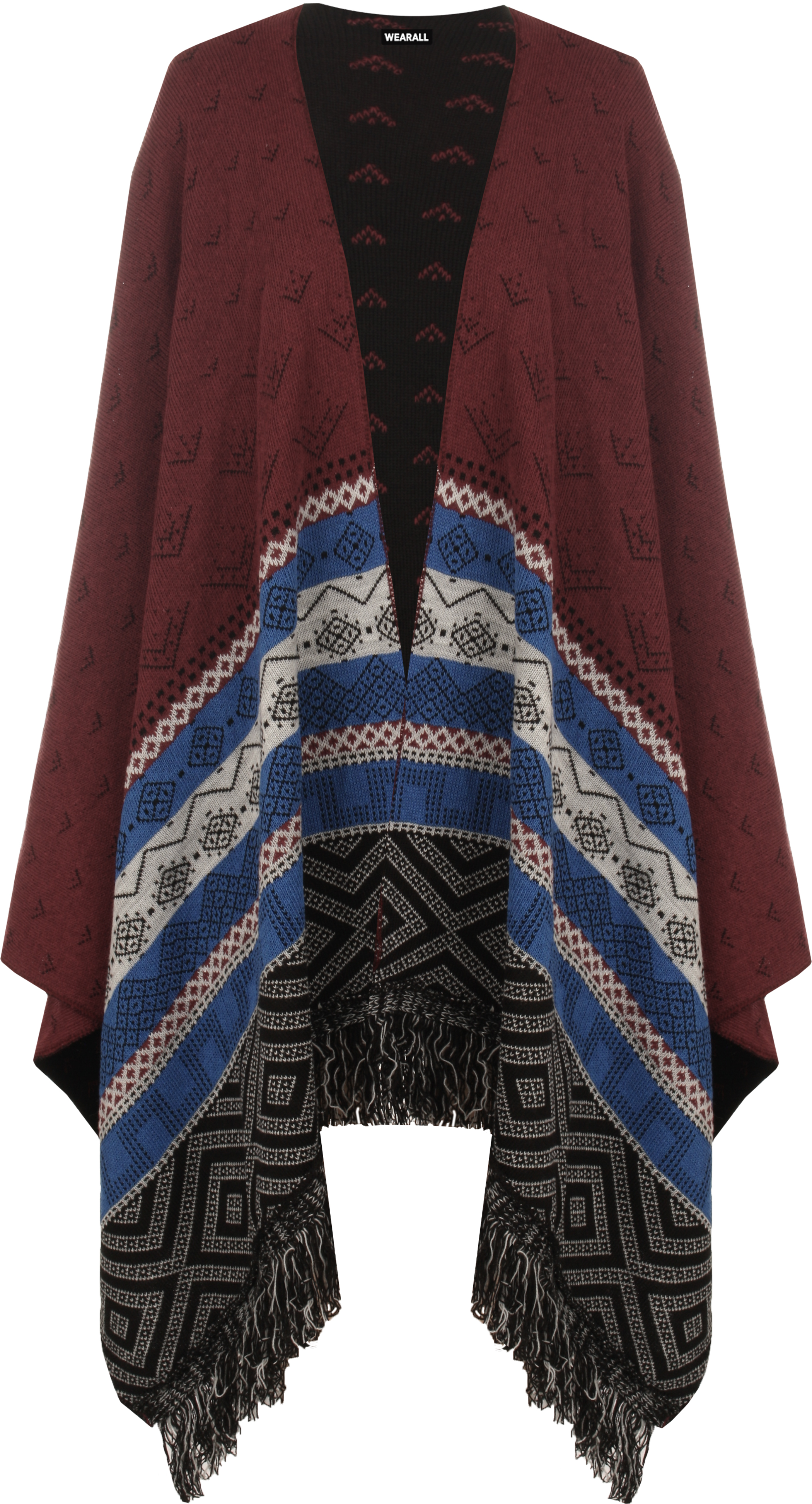 New Womens Reversible Aztec Knitted Pattern Tassel Top Cape Shawl ...