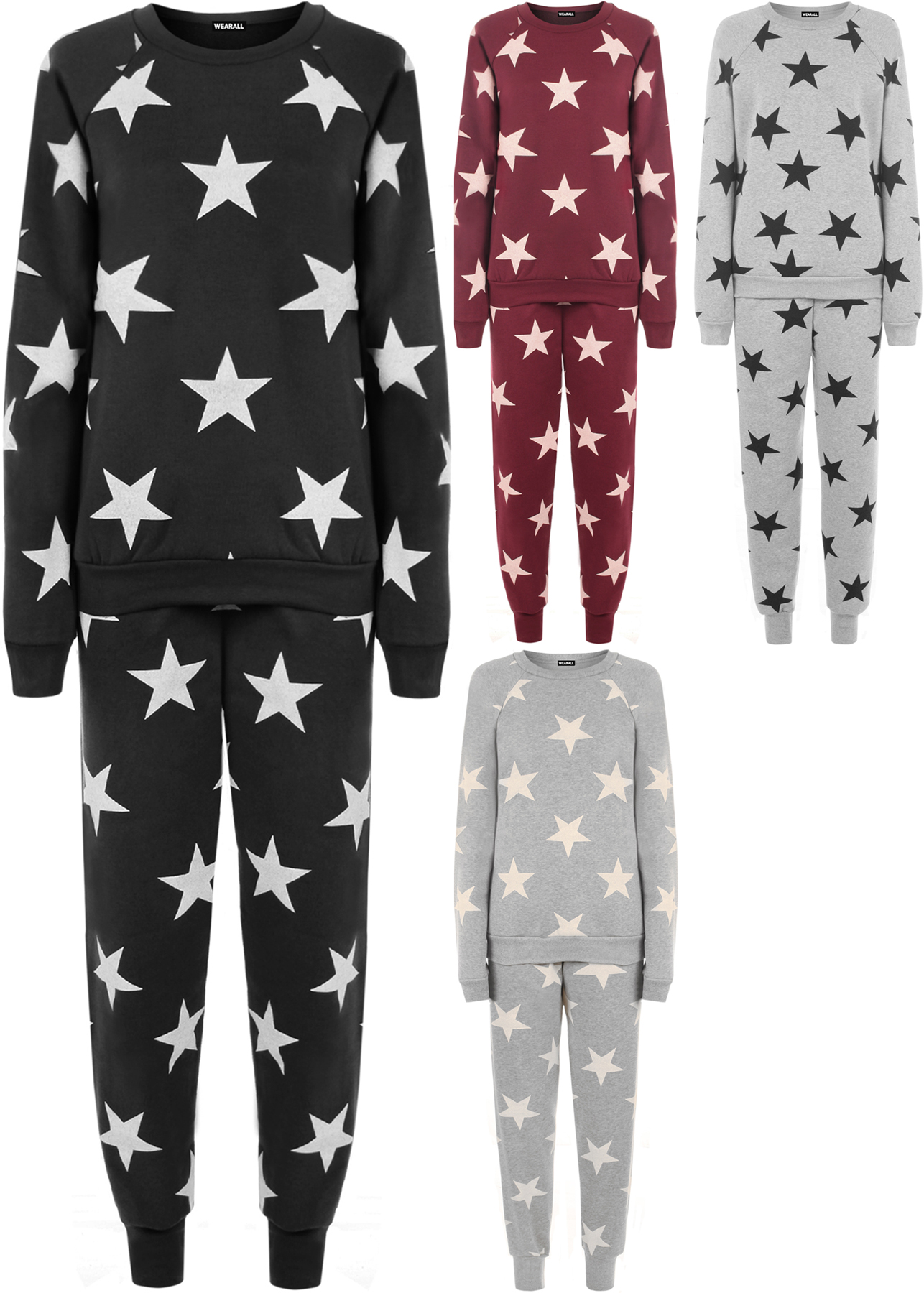 neu damen star druck sweatshirt joggers trainingsanzug einstellen jogging anzug ebay. Black Bedroom Furniture Sets. Home Design Ideas