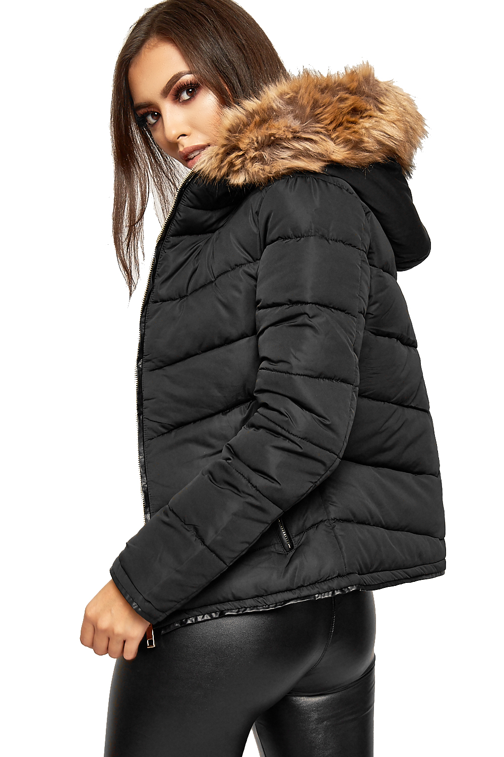 Ladies black puffer coat with fur hood