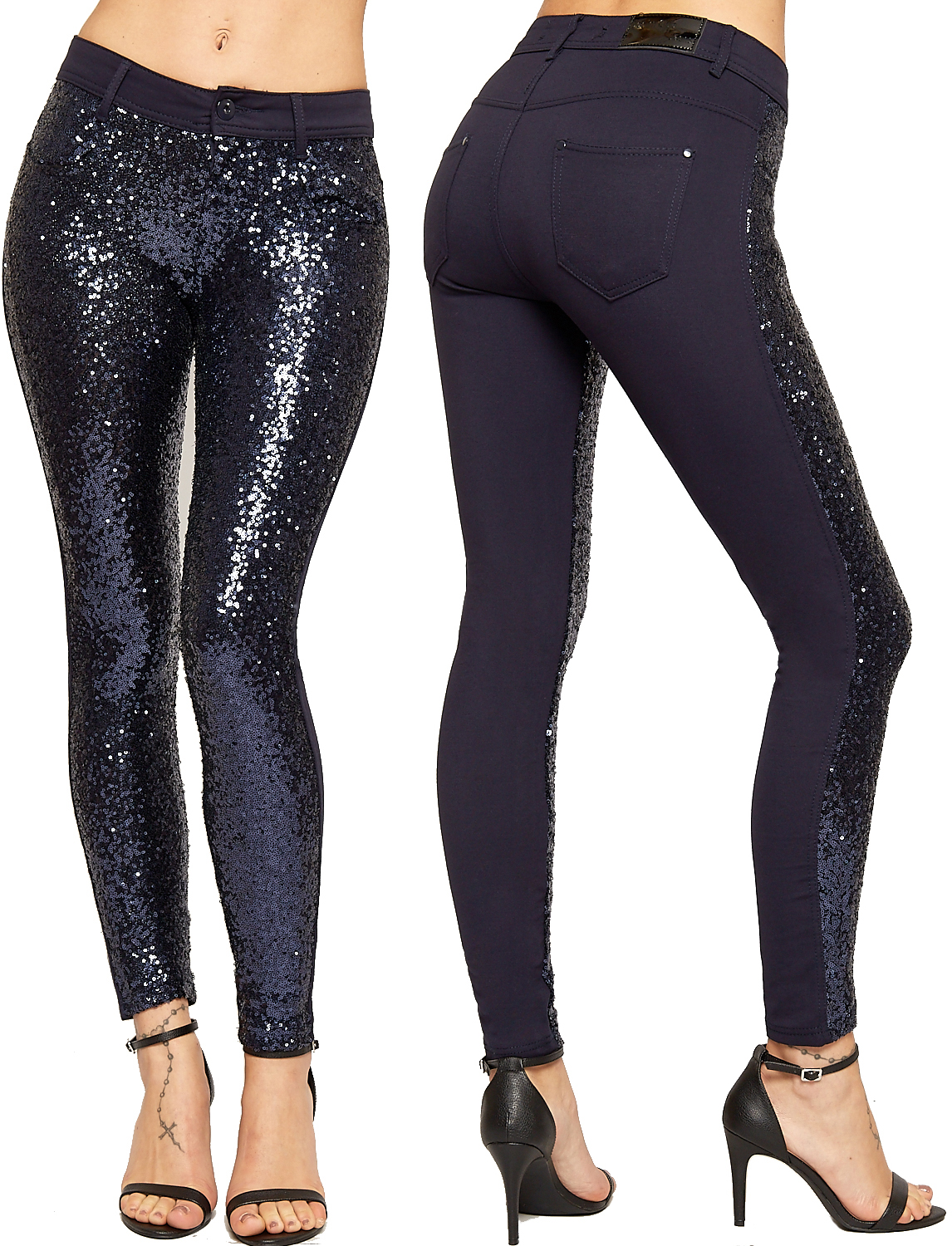 Womens Glitter Sequin Front Stretch Pocket Zip Trousers ...