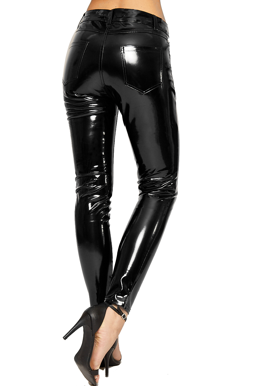 damen hoch tailliert nass aussehen vinyl d nn bein jeans damen hose hose ebay. Black Bedroom Furniture Sets. Home Design Ideas