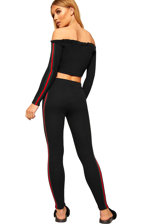 Womens Contrast Striped Long Sleeve Off Shoulder Crop Top Leggings Ladies Set | eBay
