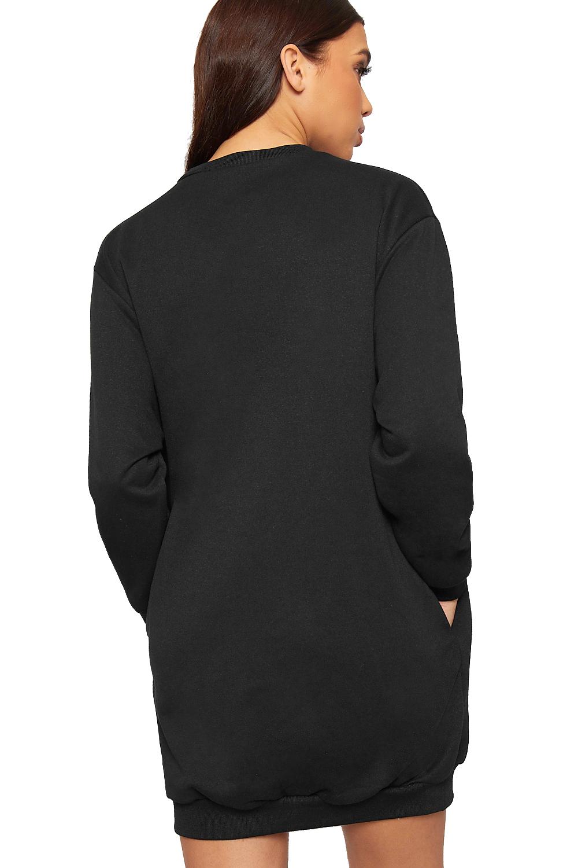 Damen slogan druck lang h lle pullover kleid damen - Sweatshirt kleid lang ...