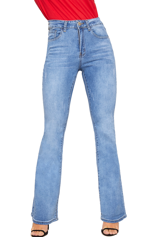 4b95dba58f5 Womens Ripped Distressed Stonewashed Denim Bootcut Jeans Ladies Flared Pants
