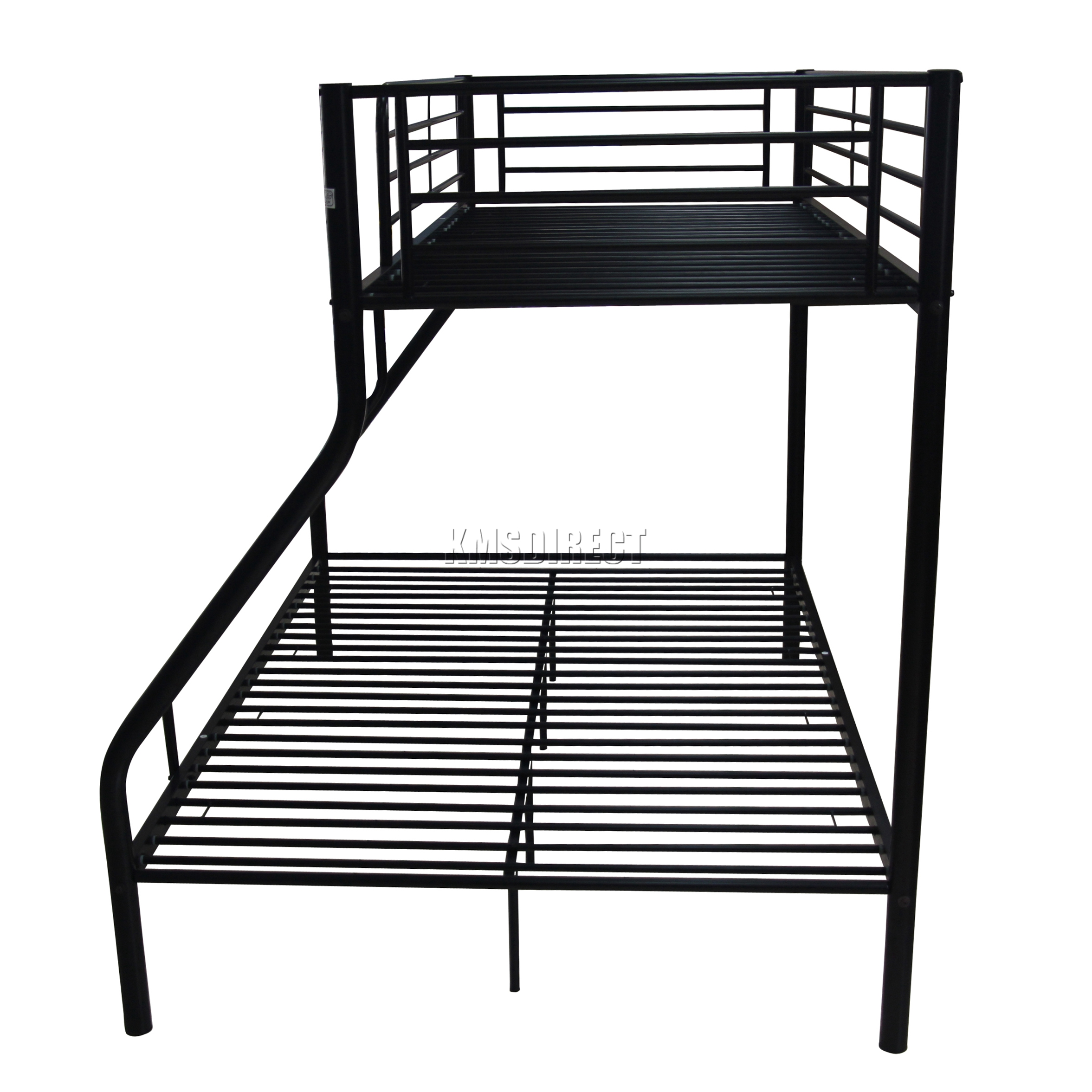 foxhunter new black metal triple children sleeper bunk bed frame no mattress ebay. Black Bedroom Furniture Sets. Home Design Ideas