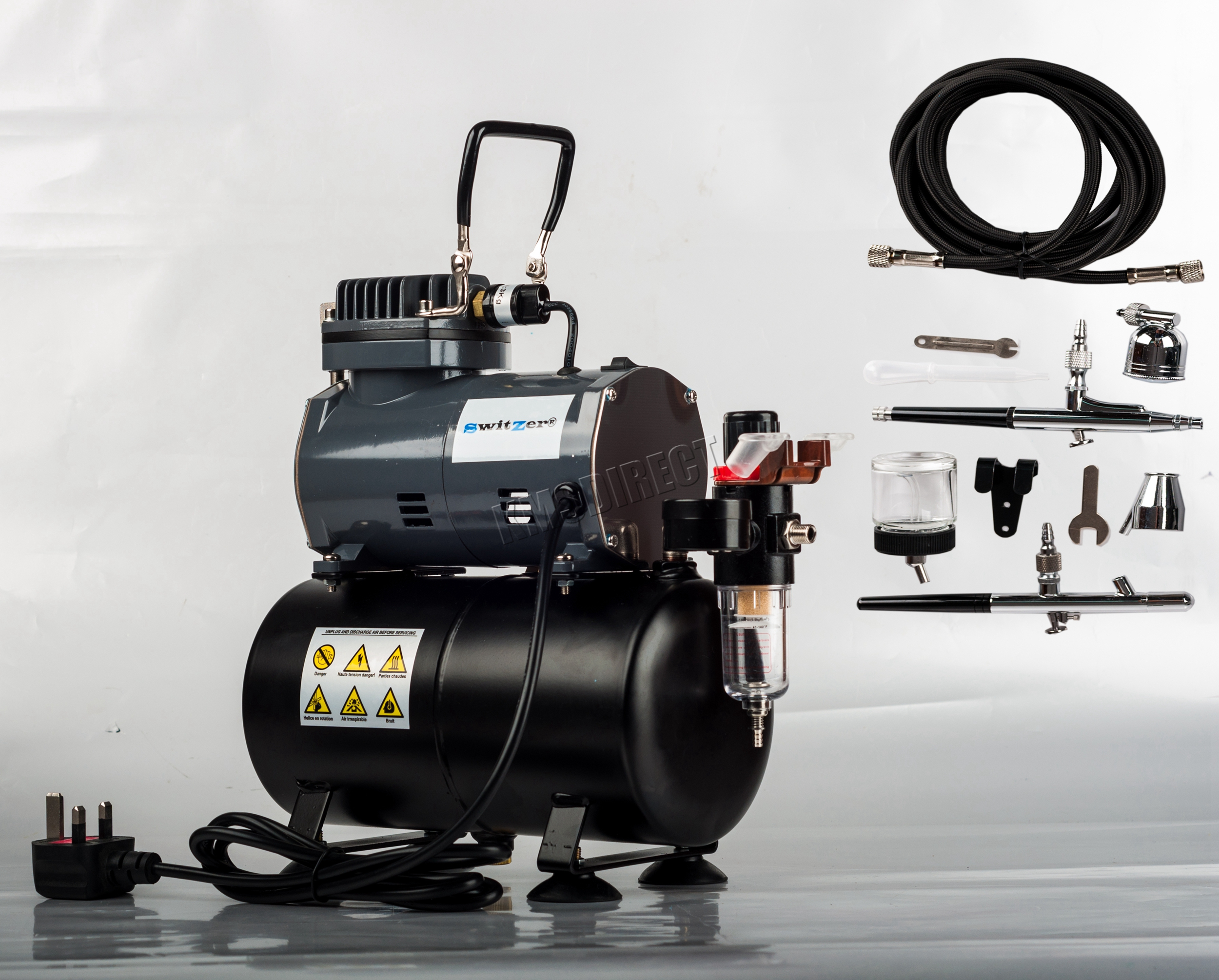 switzer kit a rographe ensemble compresseur r servoir d 39 air brosses tuyau ebay. Black Bedroom Furniture Sets. Home Design Ideas