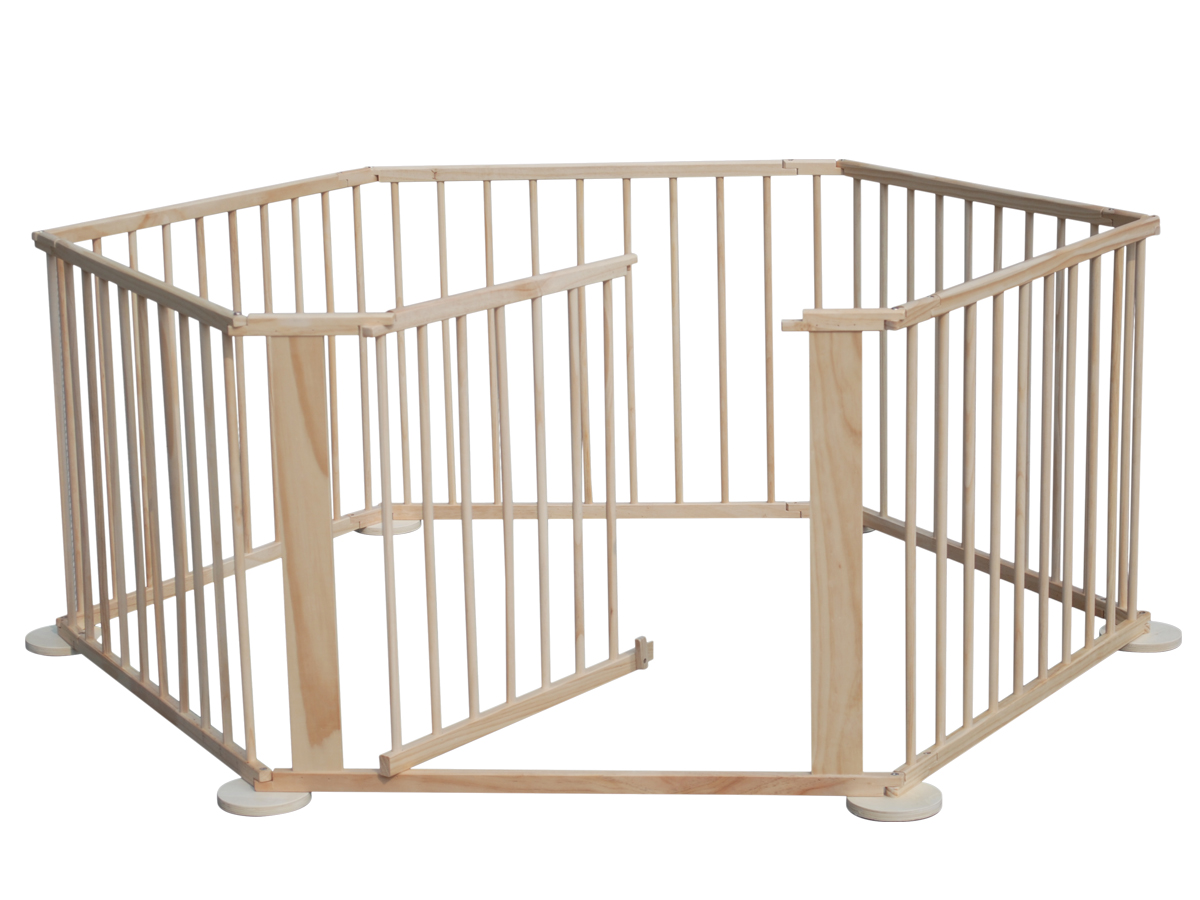 Baby Child Foldable Playpen Room Divider Pine Wood 6 Side Heavy Duty