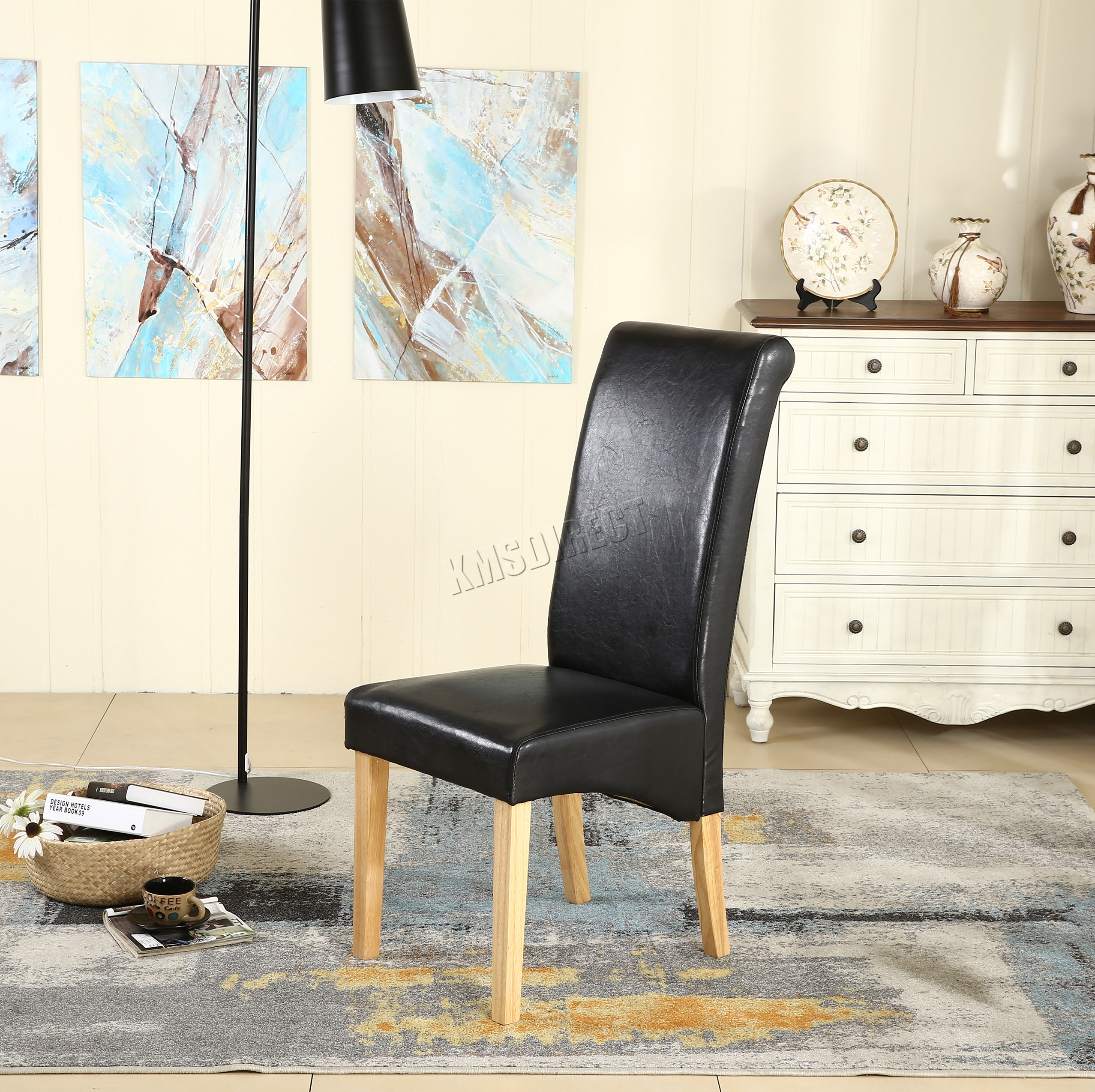 New Black Faux Leather Dining Chairs Roll Top Scroll High Back