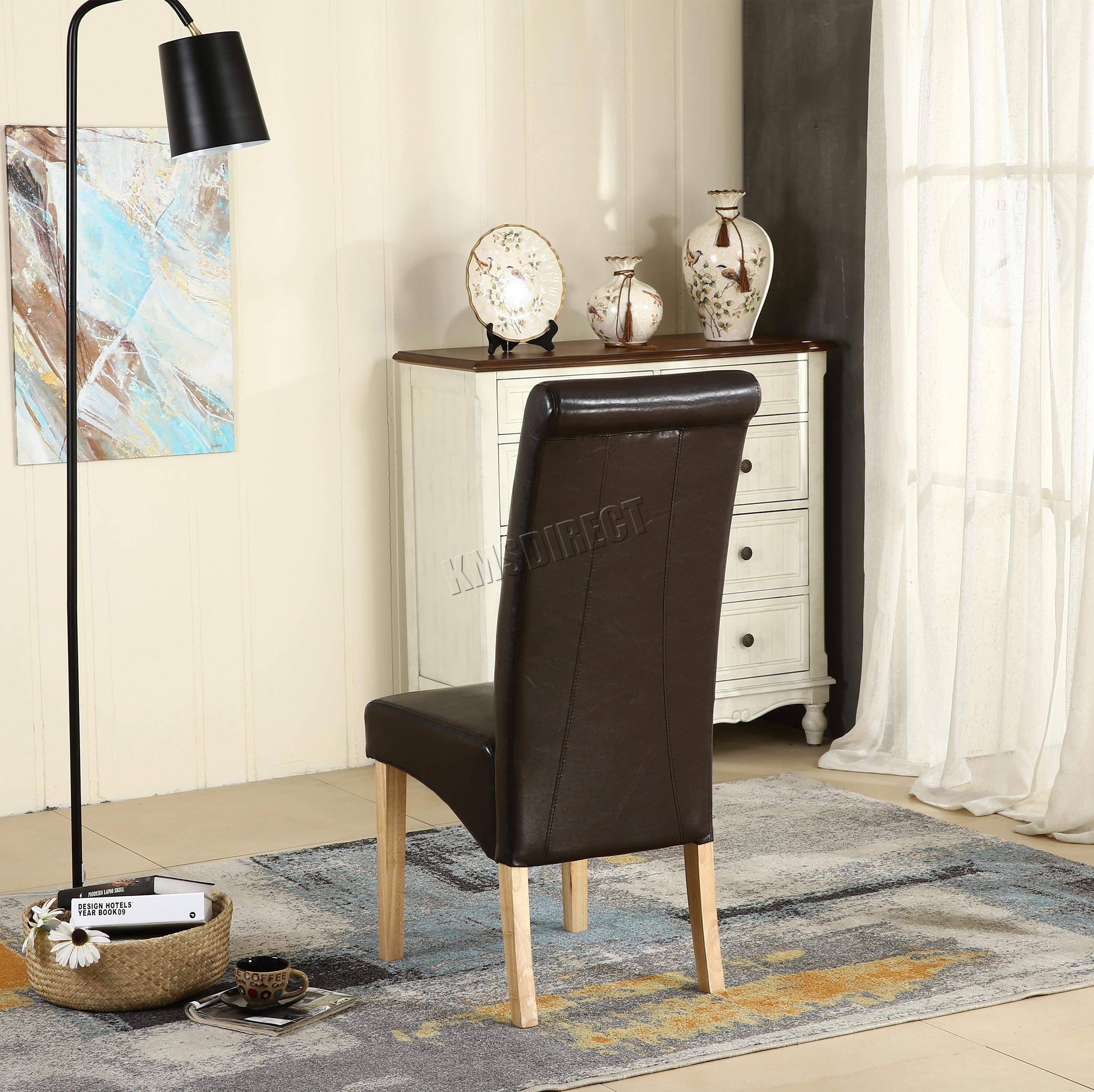 Neuf simili cuir marron chaise salle manger rouleau haut for Chaises salle manger cuir dossier haut