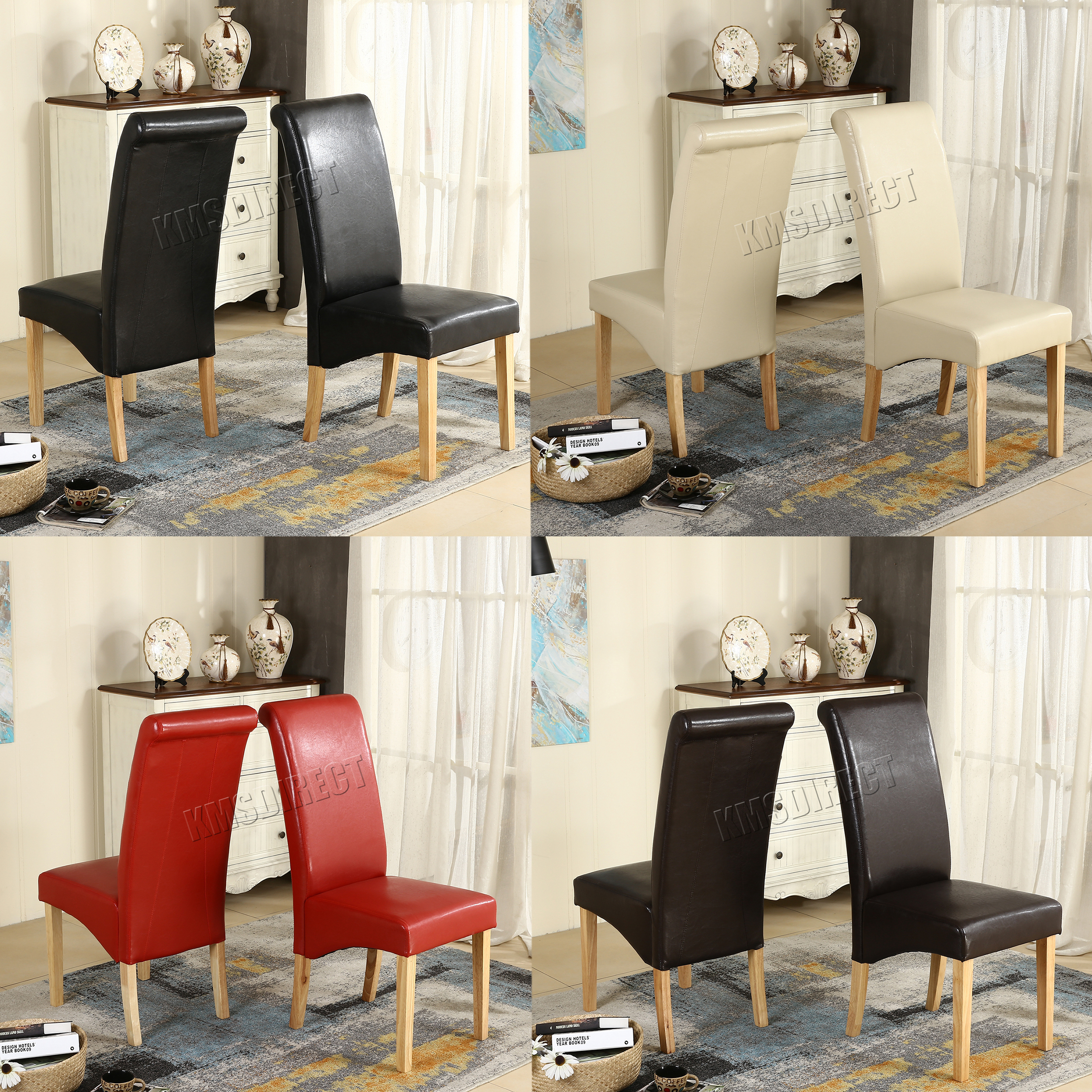 Image Is Loading Premium Dining Chairs Faux Leather Roll Top Scroll