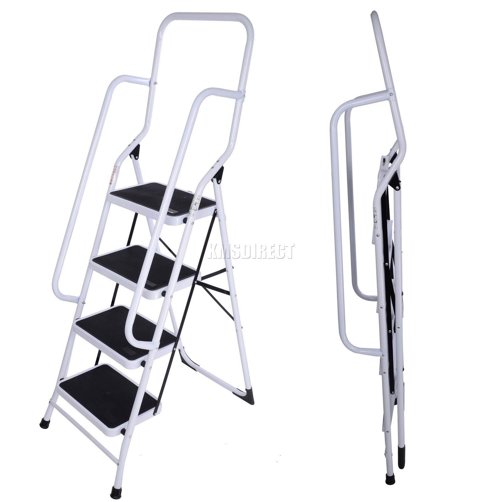 4 Step Steel Non Slip Ladder Tread Stepladder Safety Rail