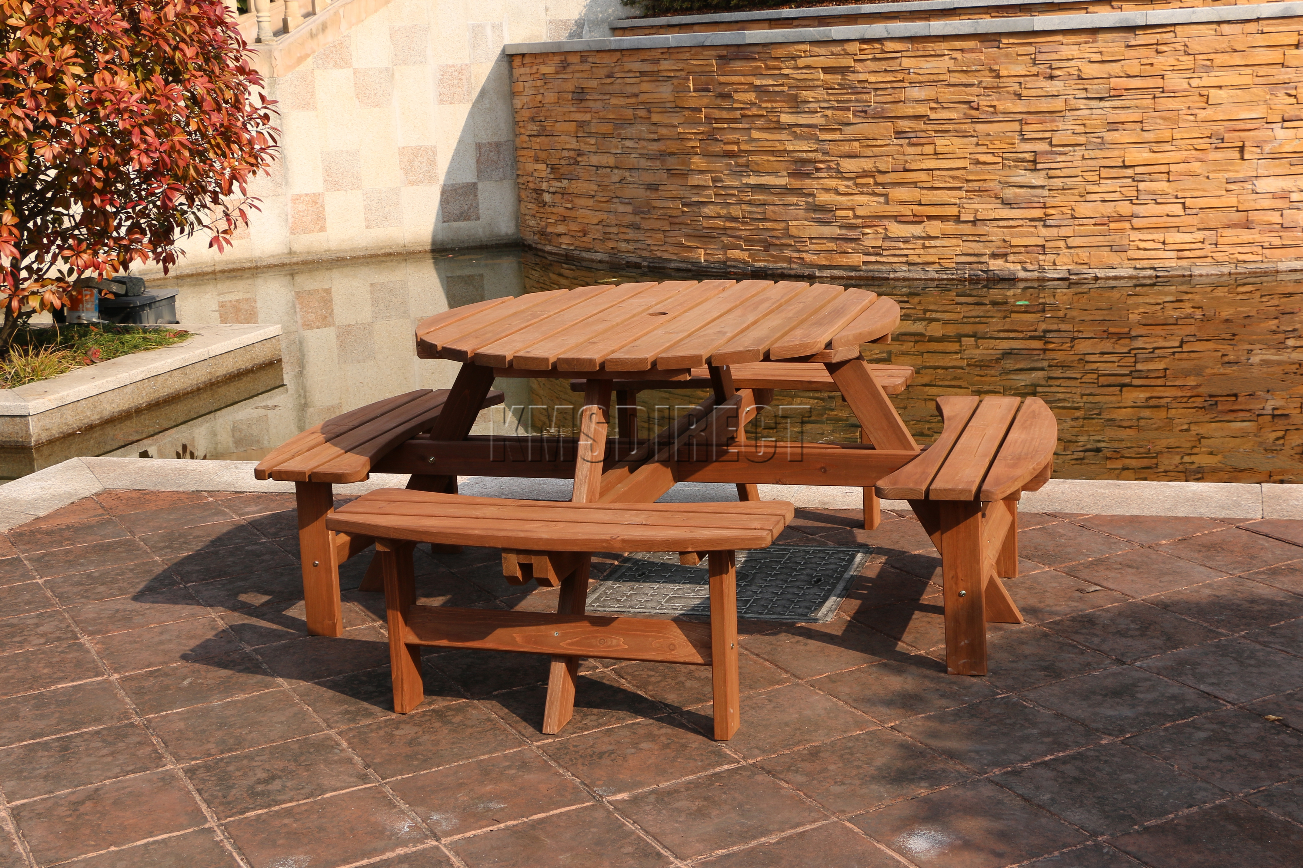 New 8 Seater Wooden Pub Bench Round Picnic Beer Table Furniture. 8 Seater Round Picnic Table   Starrkingschool