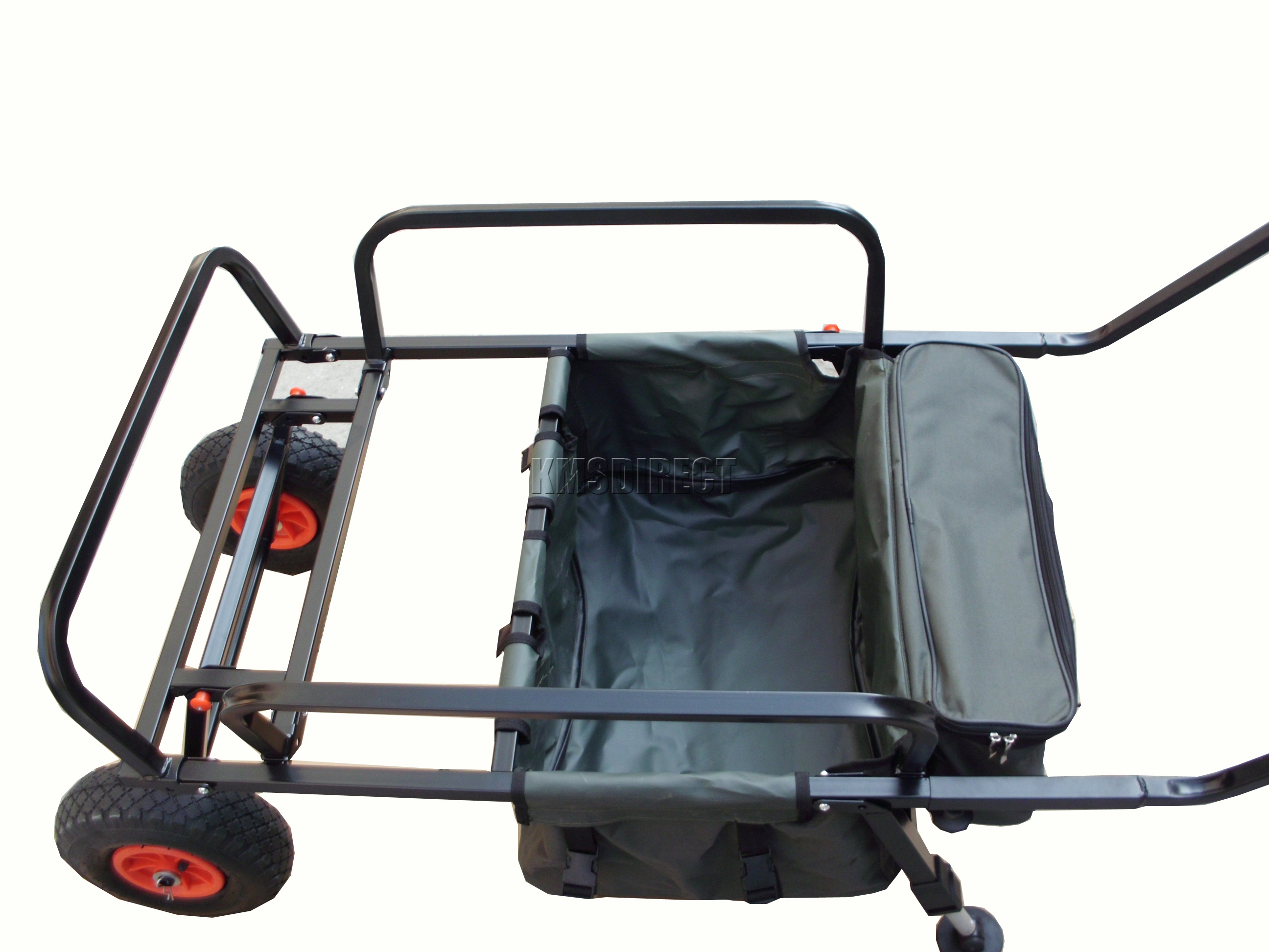 Folding fishing trolley 2 pneumatic wheel barrow cart for Folding fishing cart