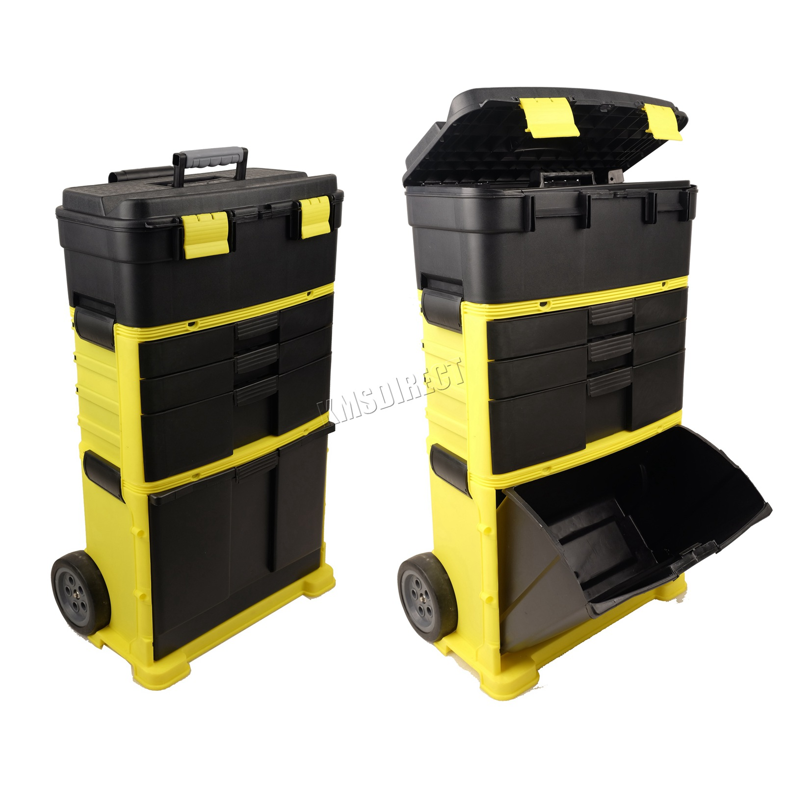 FoxHunter-Plastic-Mobile-Roller-Work-Shop-Chest-Trolley-Storage-Tool-Box-Toolbox