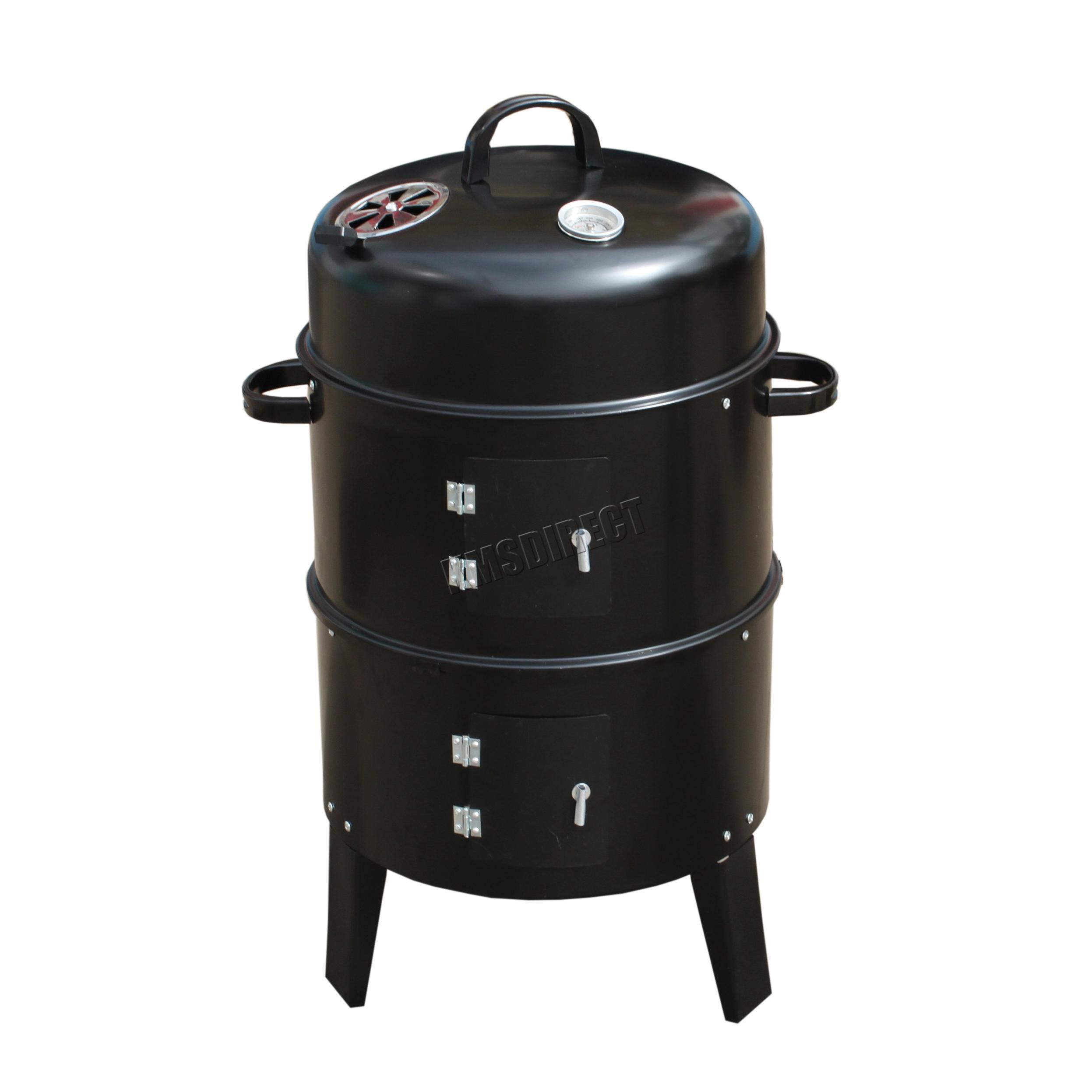 Foxhunter Black Bbq Charcoal Grill Barbecue Smoker Garden