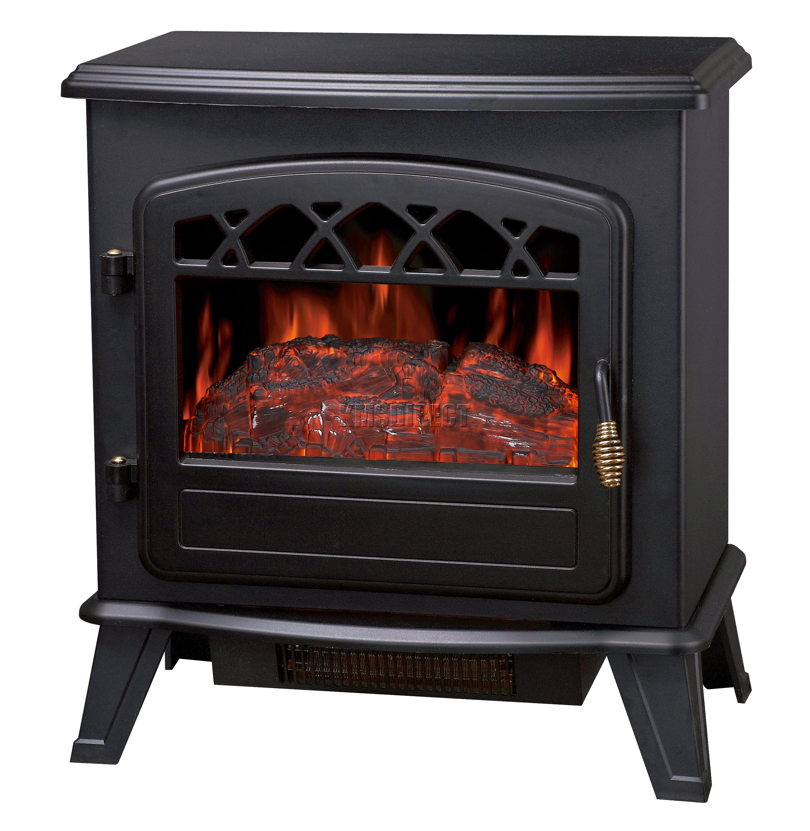 nouveau 1850w log burning effet flamme po le chemin e feu lectrique chauffage debout ebay. Black Bedroom Furniture Sets. Home Design Ideas