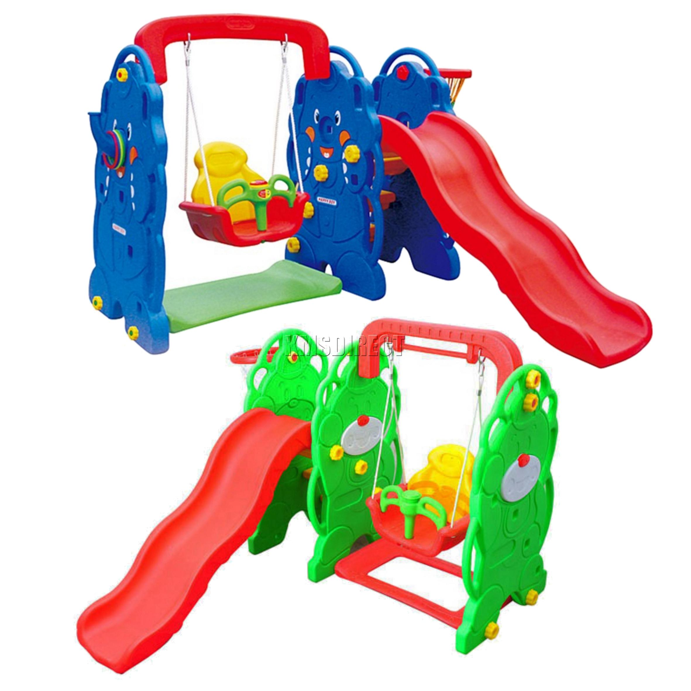 FoxHunter Kids Outdoor Playground Swing Slide Basketball Hoop