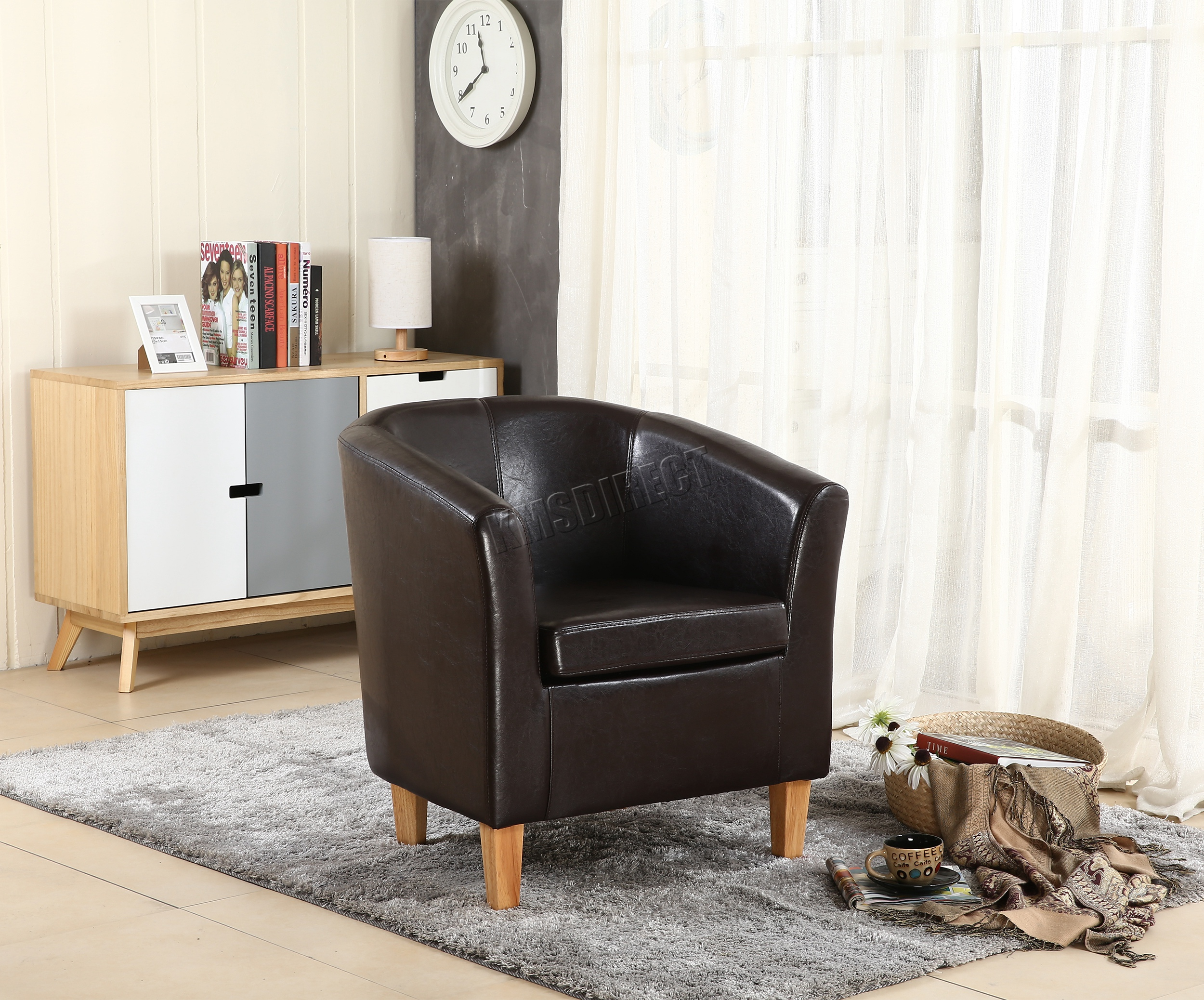 Sentinel FoxHunter Brown Faux Leather Tub Chair Armchair Dining Room Lounge  Furniture New