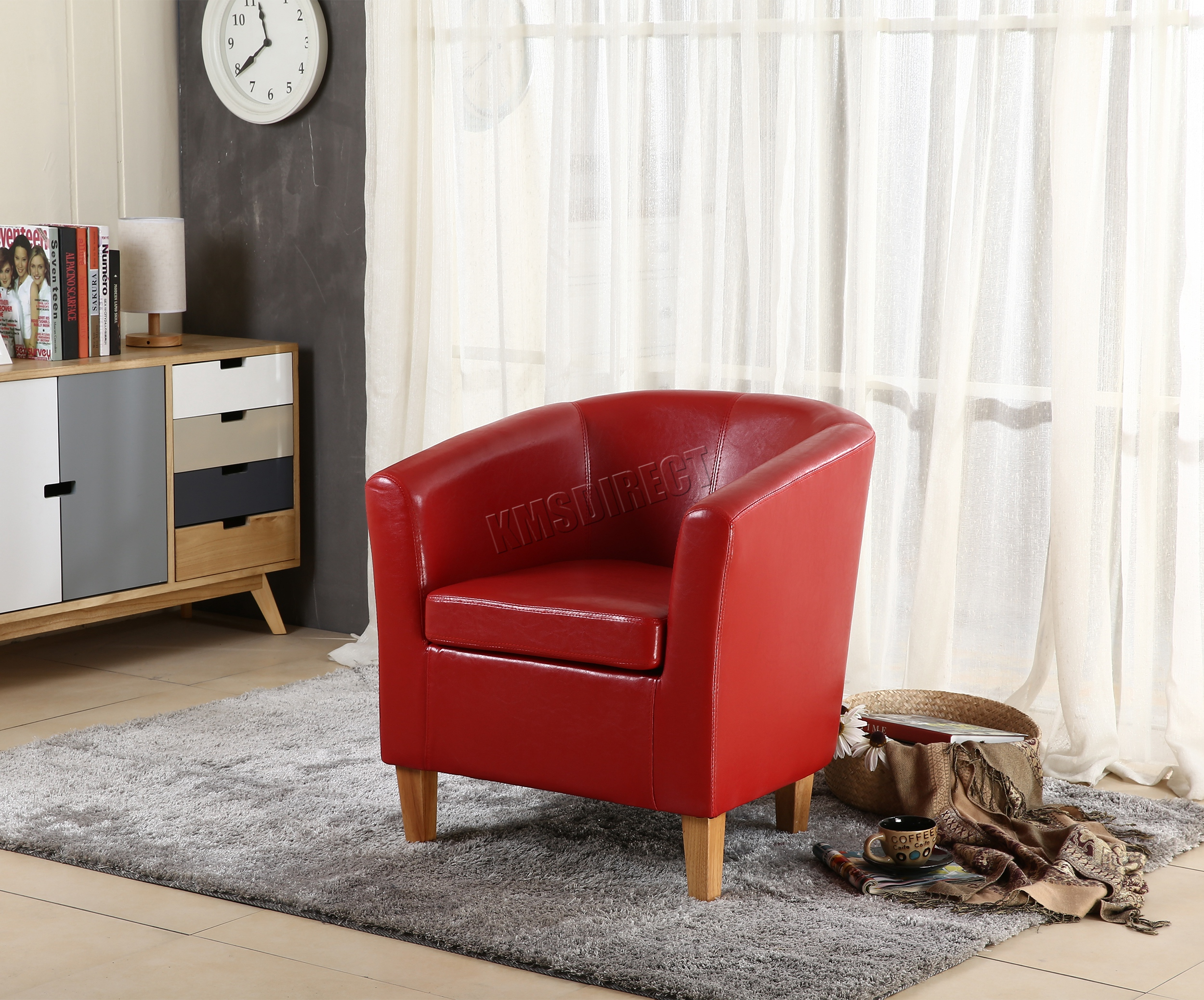 Foxhunter Tub Chair Armchair Faux Leather Dining Room Office