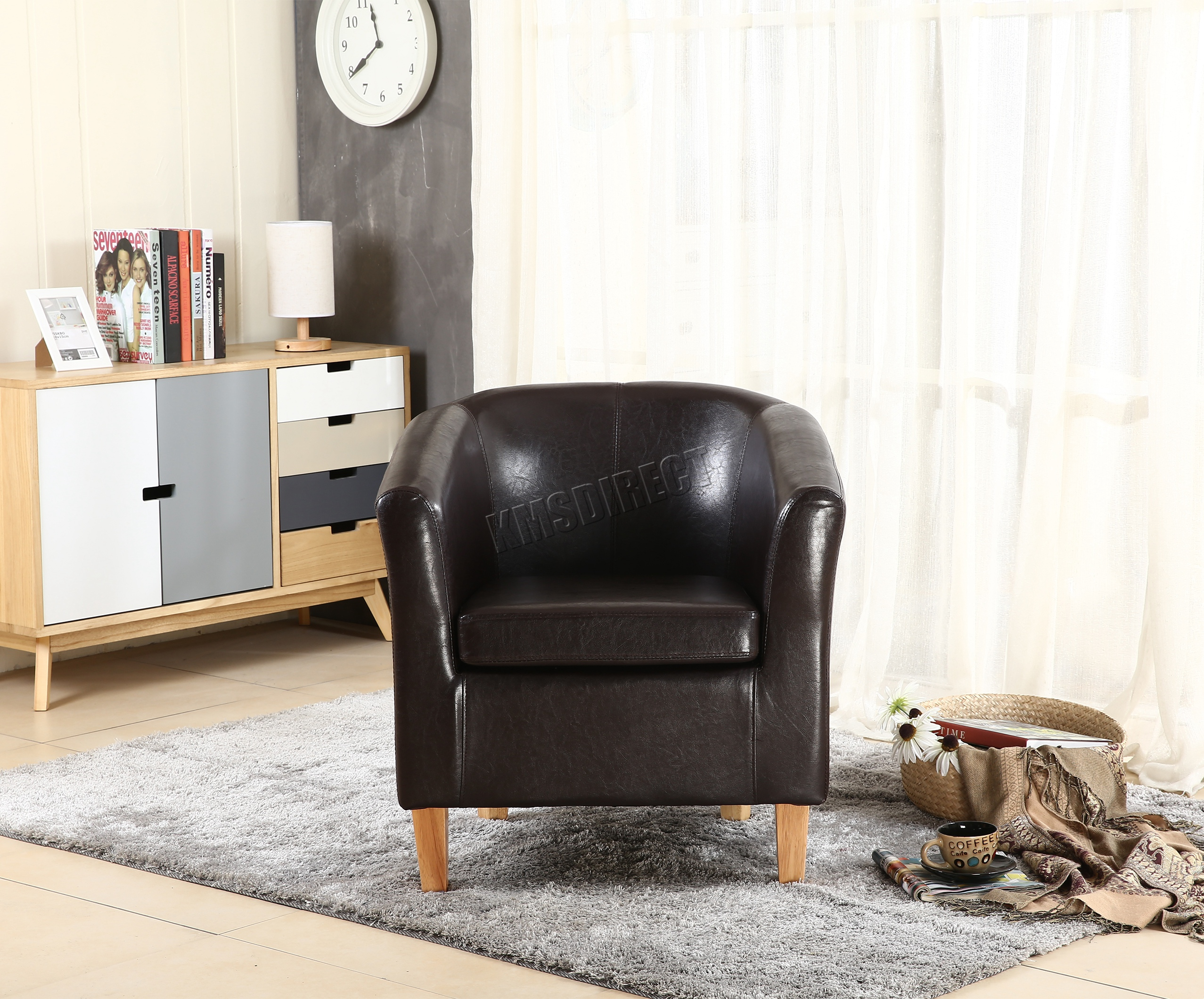 FoxHunter Faux Leather PU Tub Chair Armchair Dining Room Modern ...