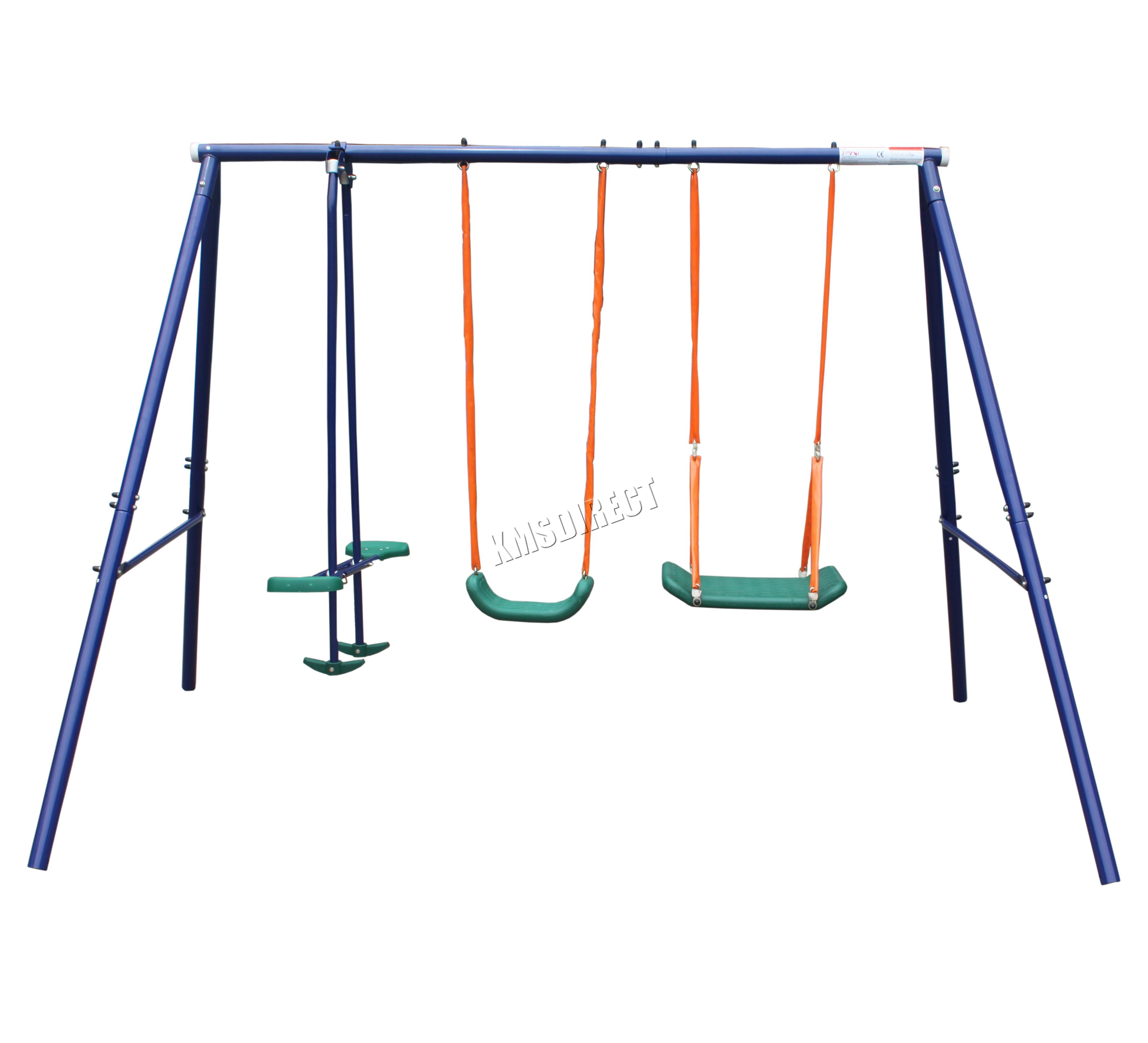 FoxHunter Kids Children Garden Metal Frame Double Seat Swing Set