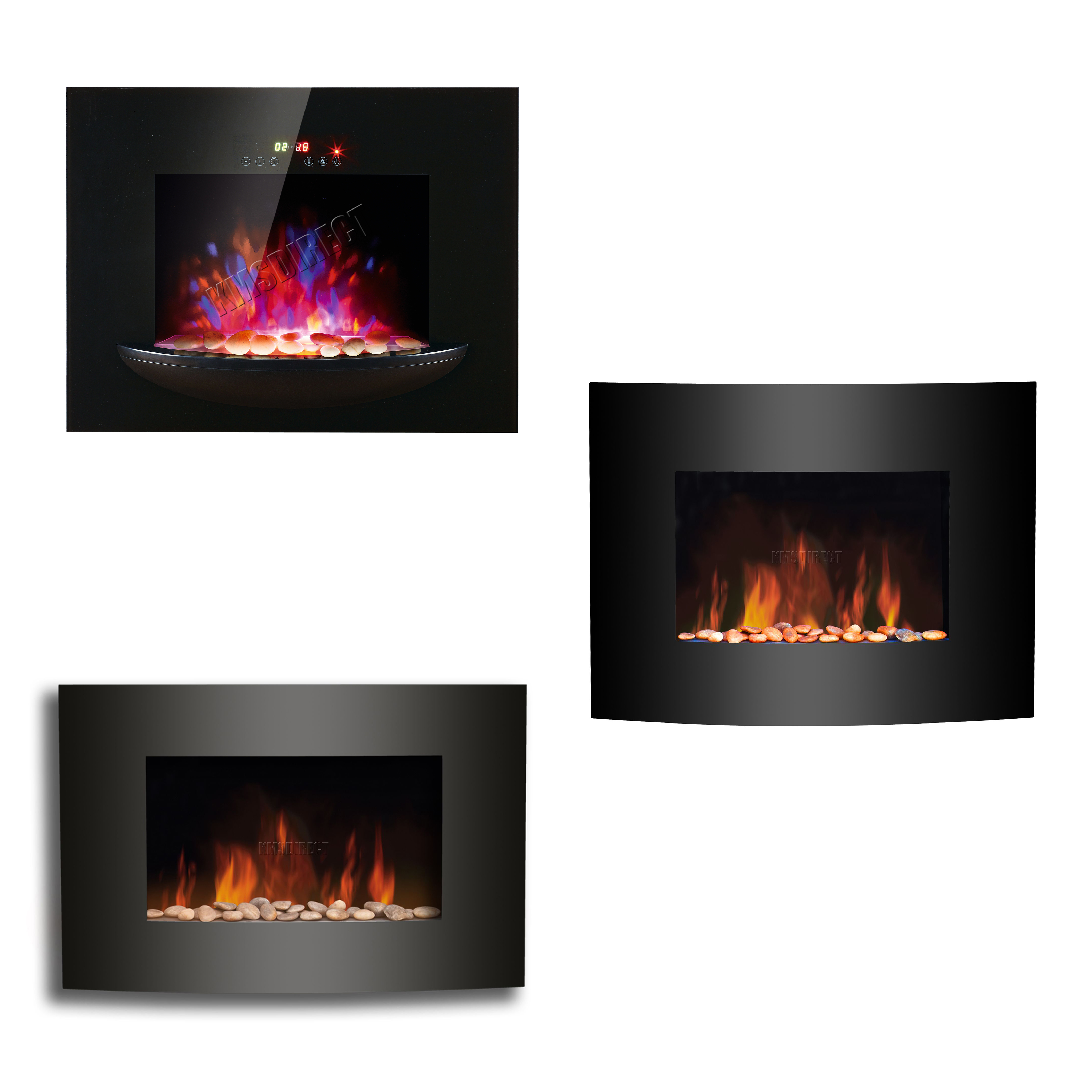 glass black ele electric curved heater wall fire var led fireglass fireplace mounted designs