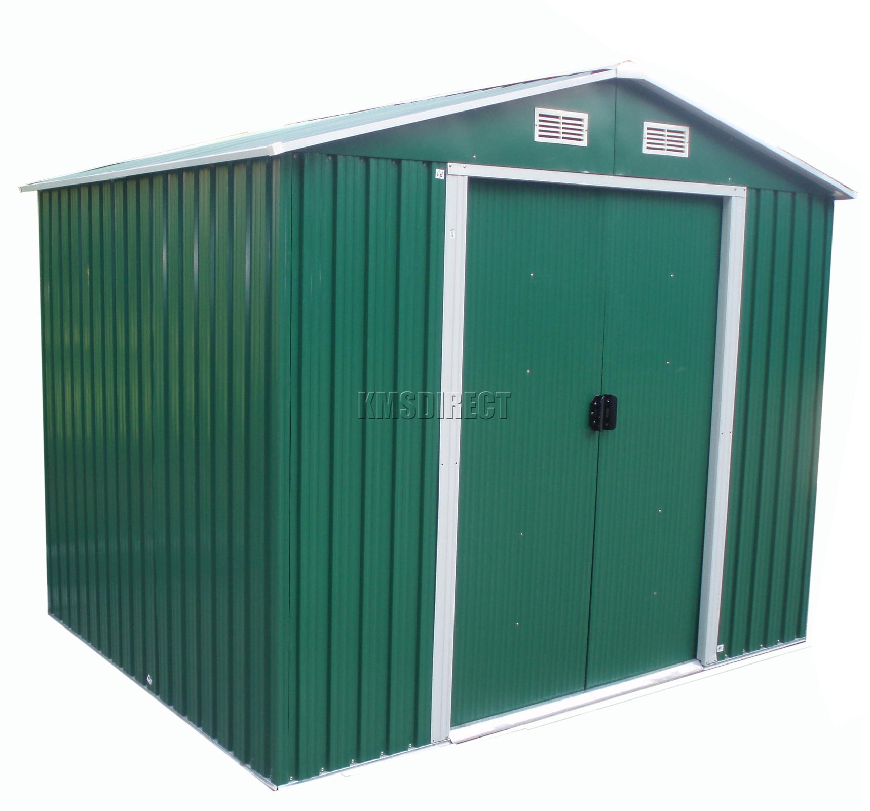 FoxHunter 10 X 8FT Garden Shed Metal Apex Outdoor Storage Foundation