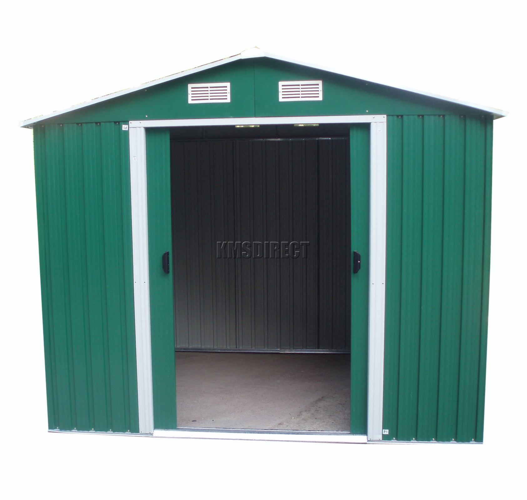 Sentinel Foxhunter 10 X 8ft Garden Shed Metal Apex Outdoor Storage Foundation Green Kms