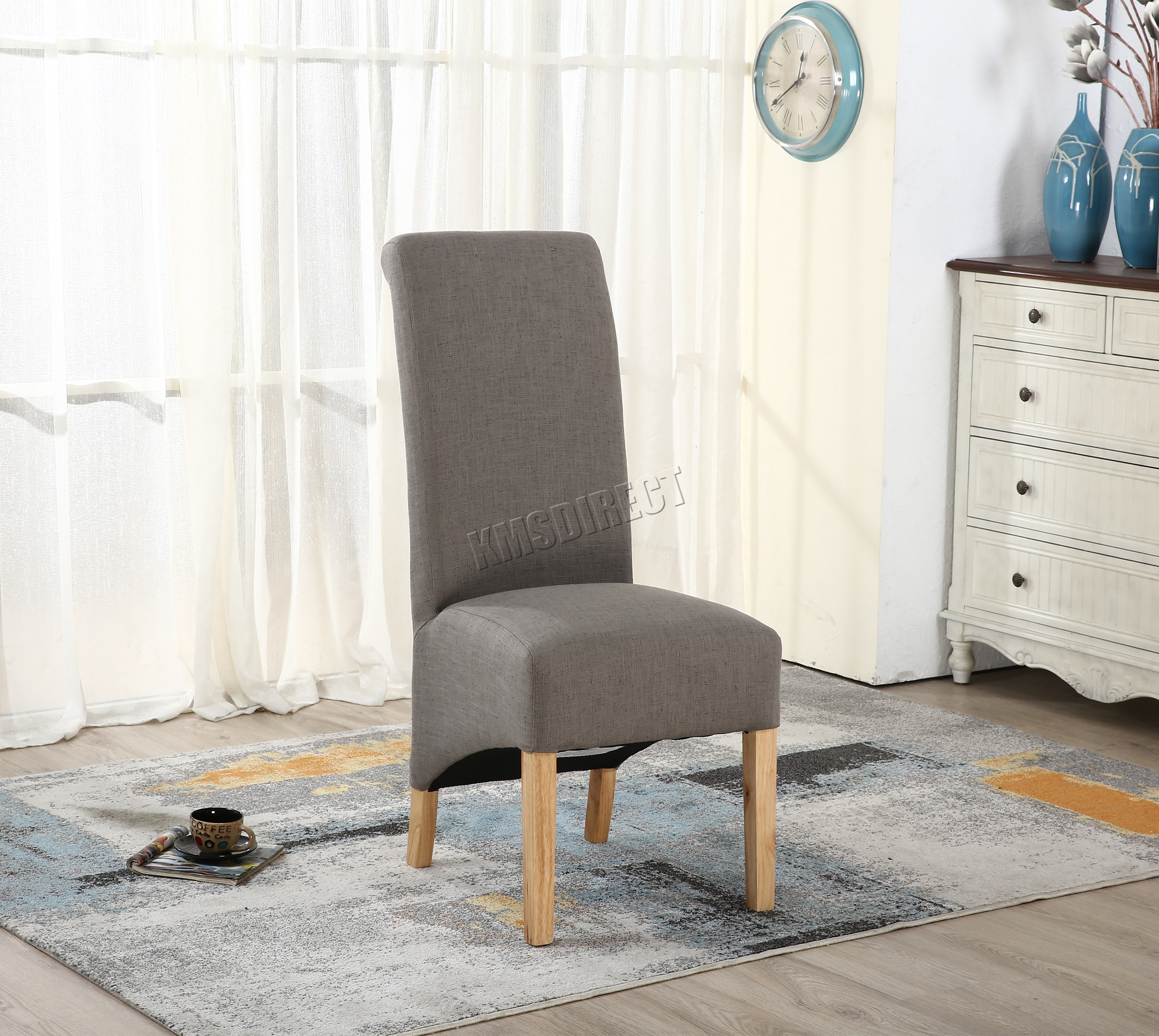 FoxHunter New Linen Fabric Dining Chairs Roll Top Scroll High Back