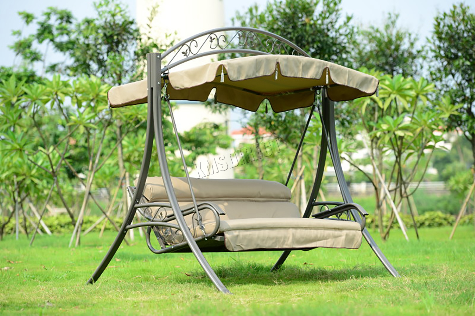 outdoor hanging chair foxhunter fhsc03 garden metal swing hammock 3 seater chair 11259
