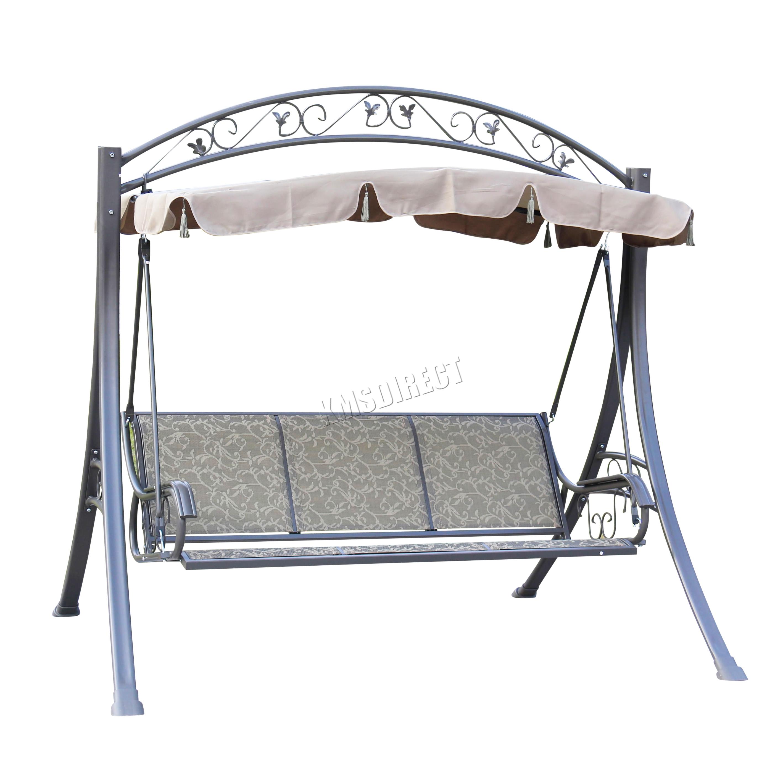 FoxHunter FHSC03 Garden Metal Swing Hammock 3 Seater Chair Bench