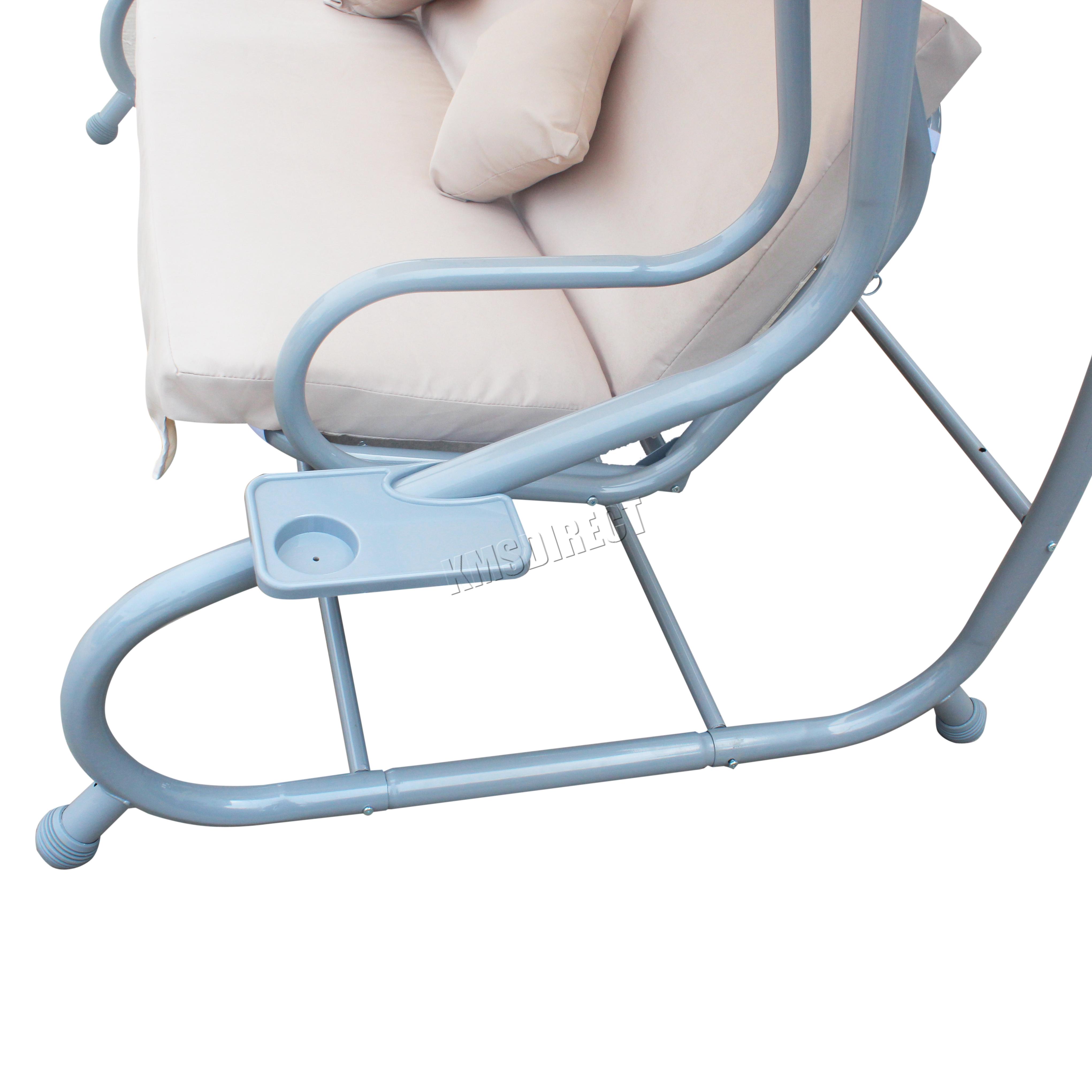 FoxHunter Beige Garden Metal Swing Hammock 3 Seater Chair Bed