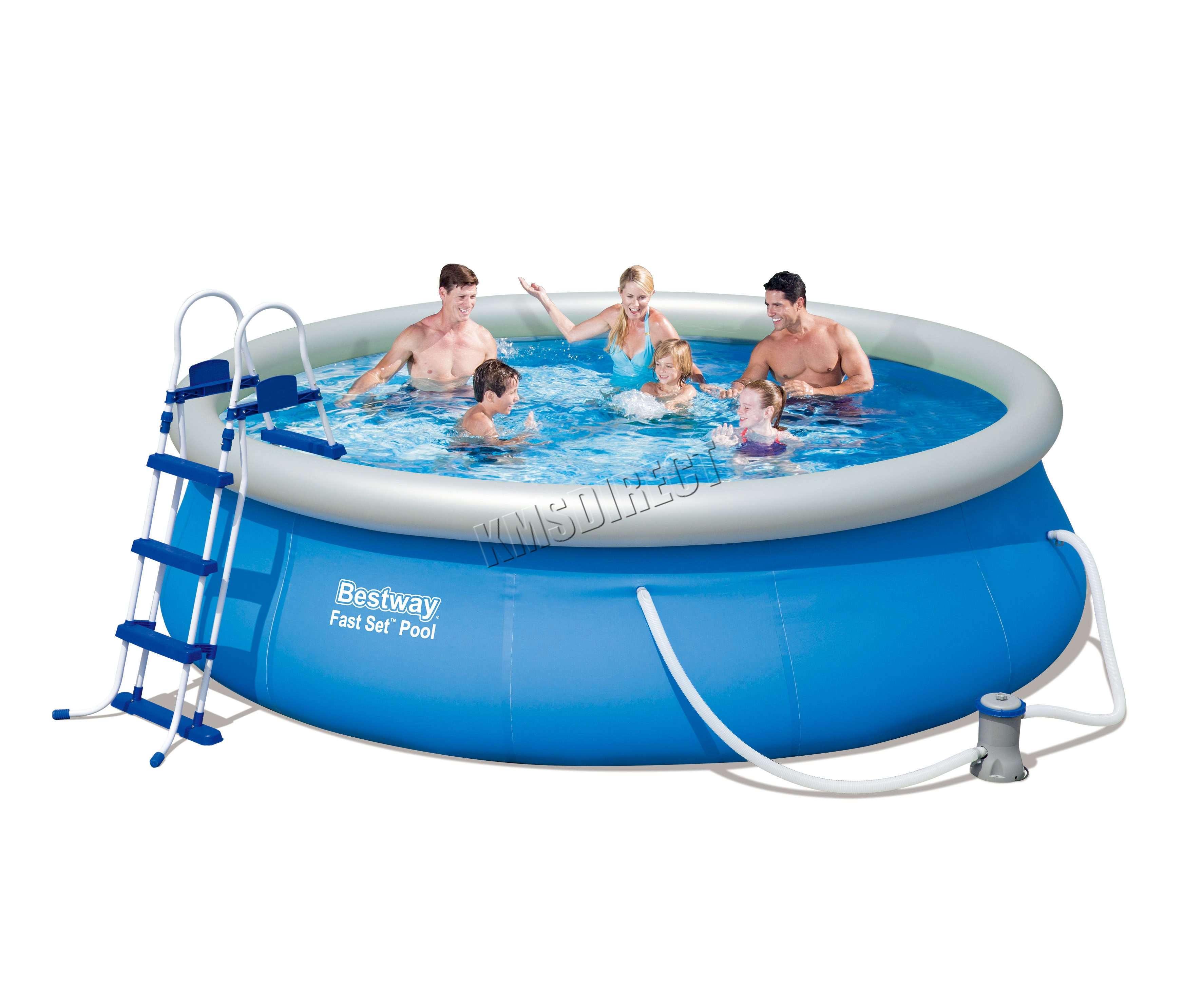 Bestway fast set swimming pool round inflatable above for Swimming pool set angebot