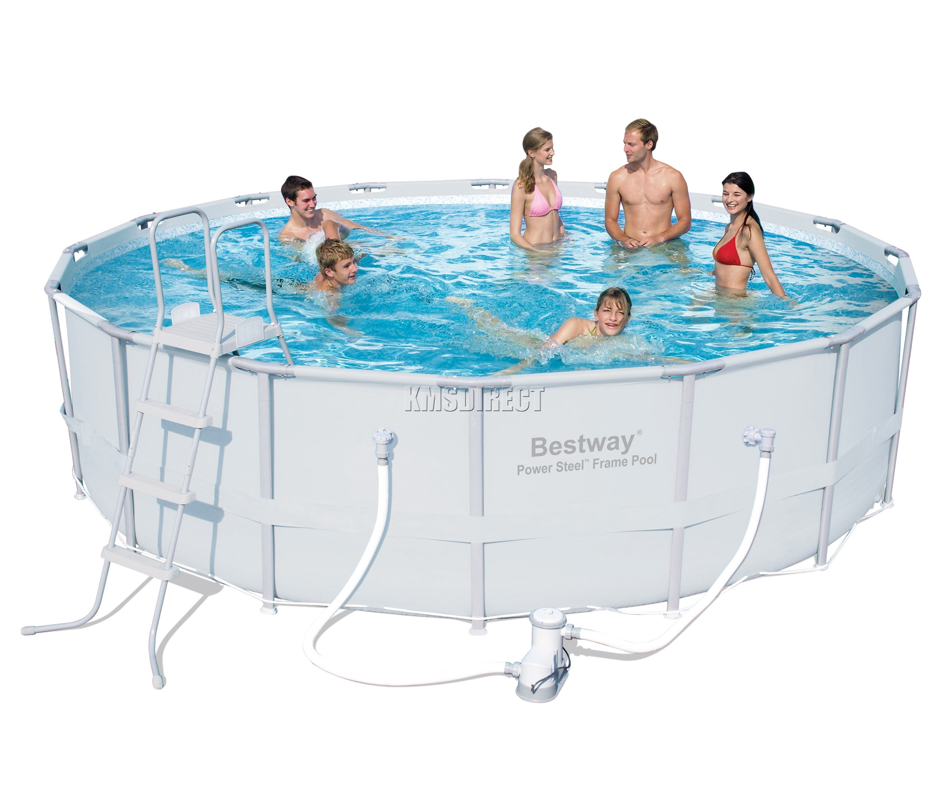 Bestway power steel frame swimming pool set round above for Bestway pool obi