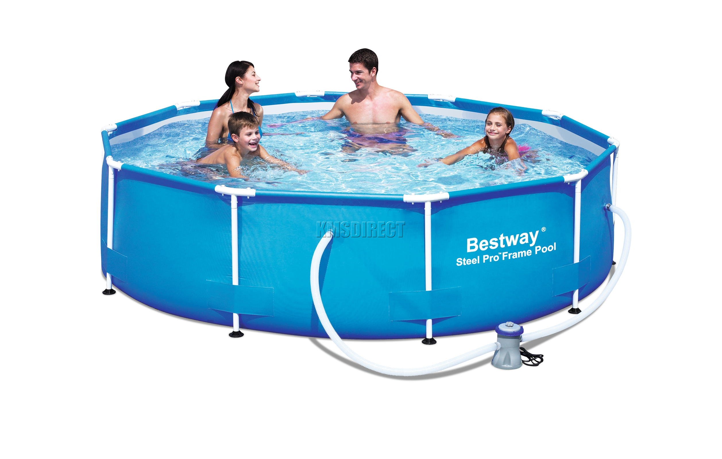 Bestway steel pro frame swimming pool set round above for Stahlrahmen pool 366x122