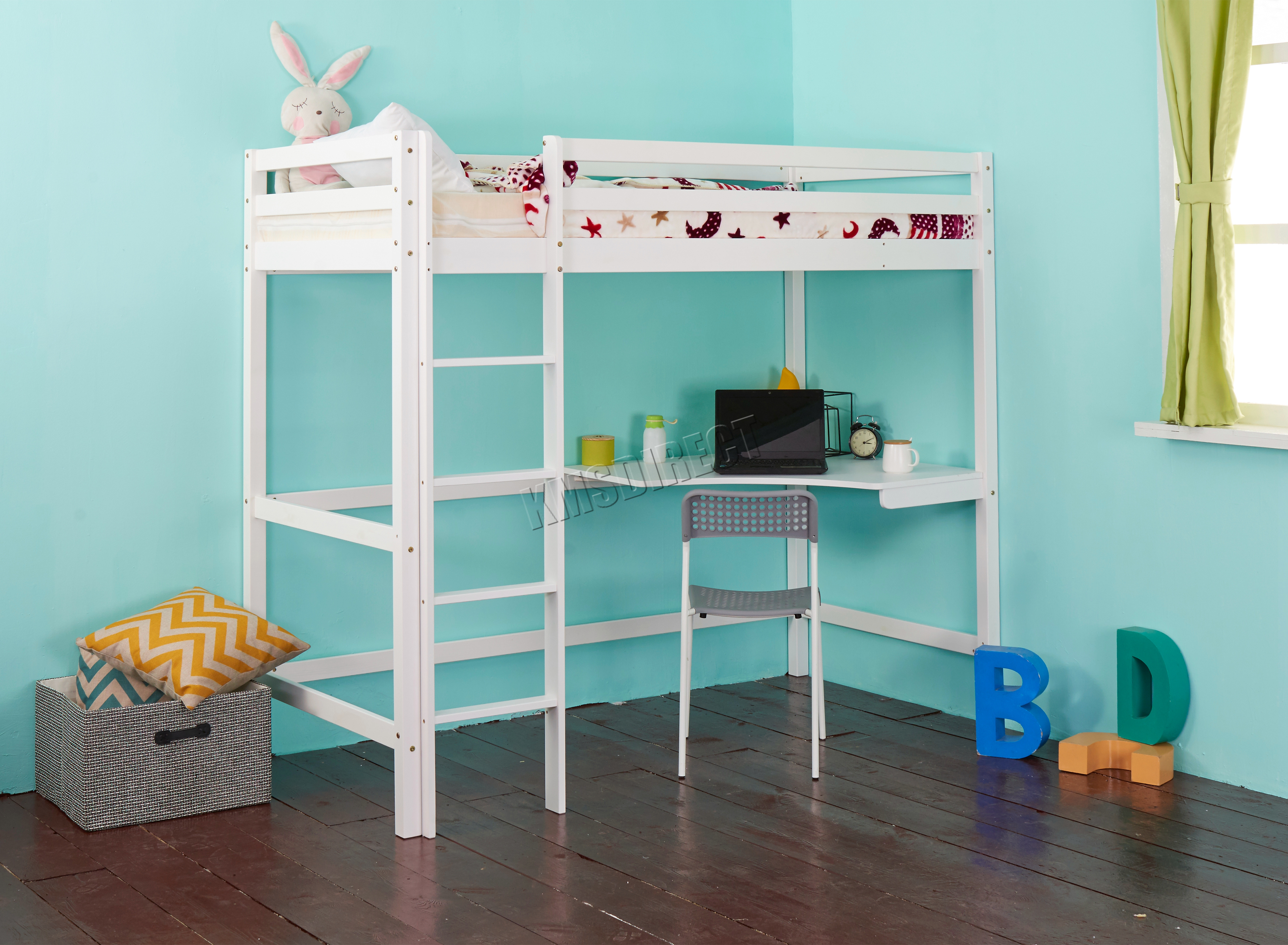 Westwood High Sleeper Cabin Wooden Frame Bunk Bed With