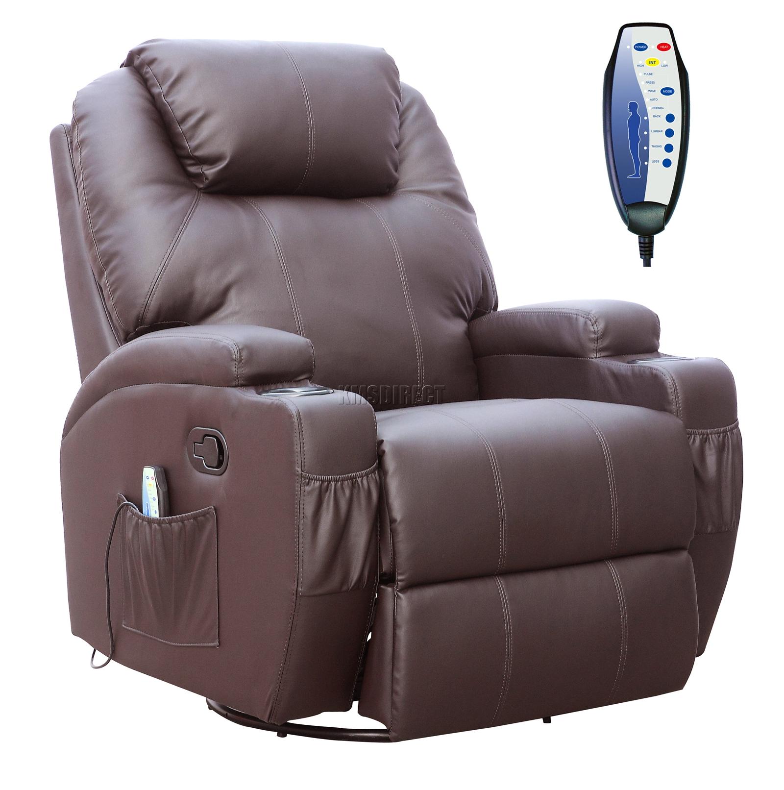 Sofá de butaca reclinable con sistema de masaje de cuero reconstituido Westwood-1975