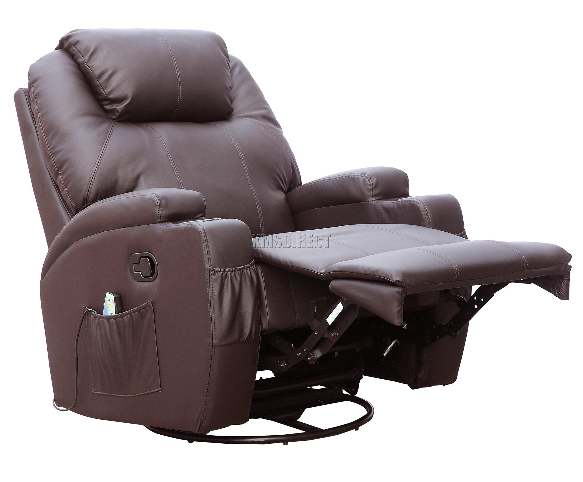 Sofá de butaca reclinable con sistema de masaje de cuero reconstituido Westwood-9903