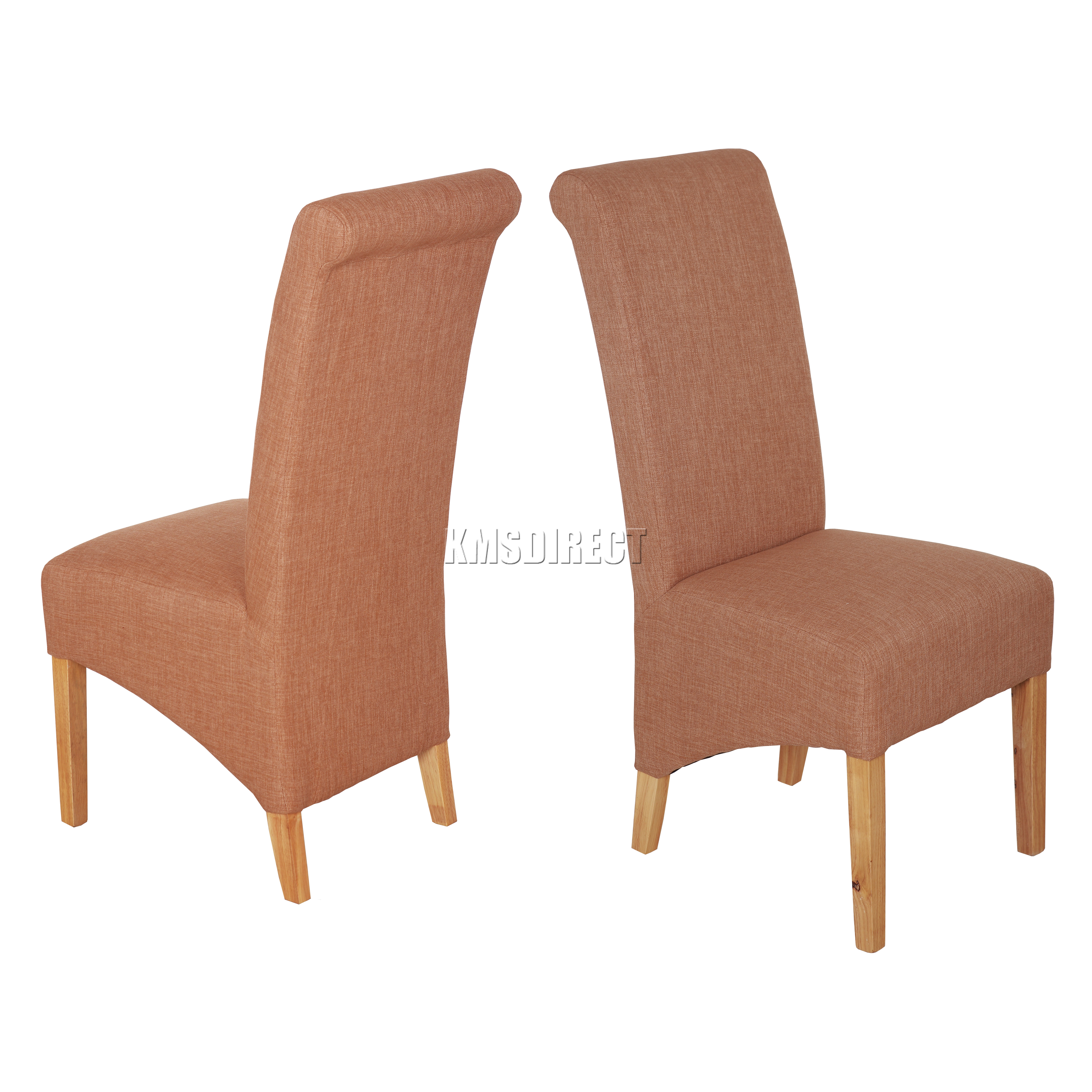 Westwood New Linen Fabric Dining Chairs Roll Top