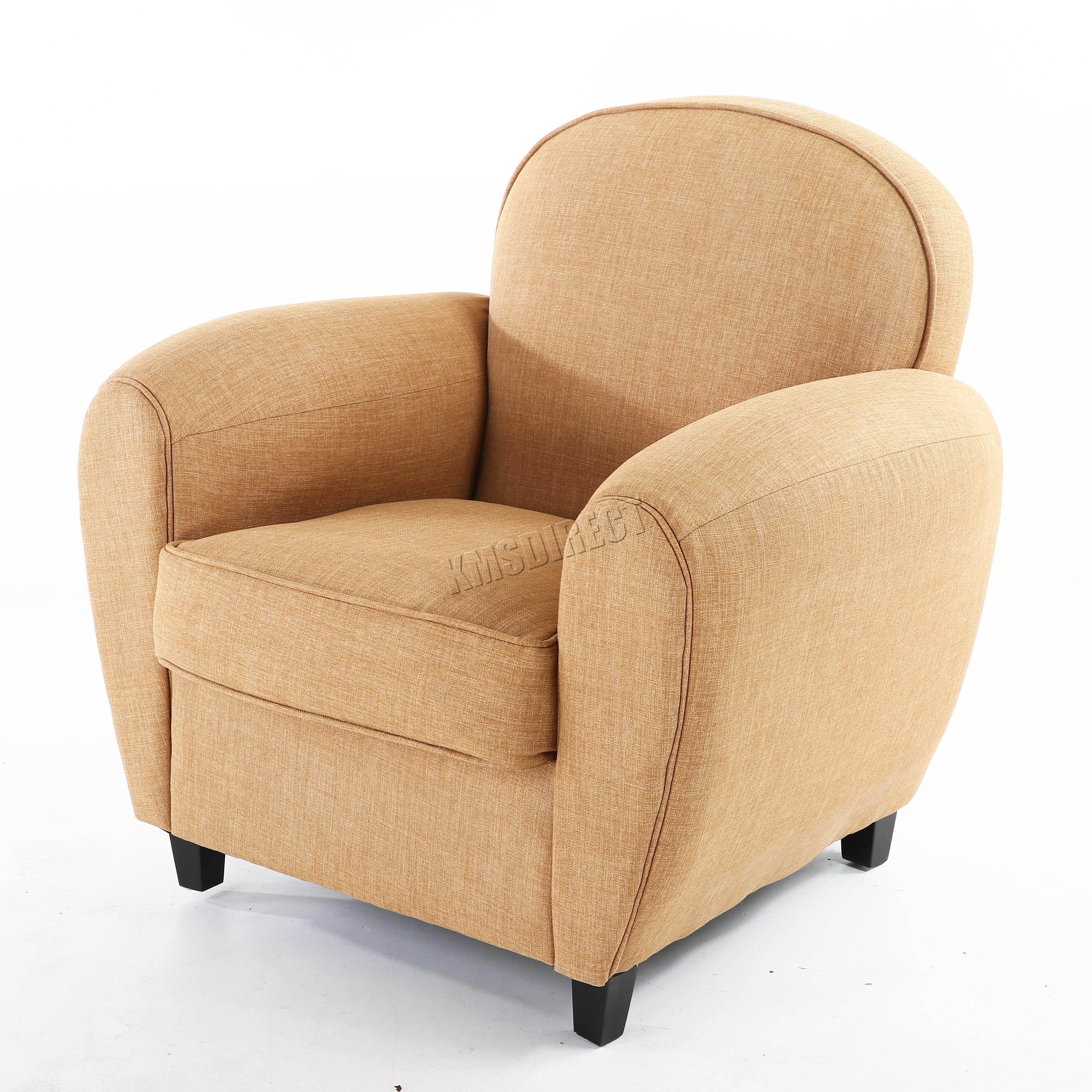 Foxhunter Linen Fabric Tub Chair Armchair 2094 Sofa