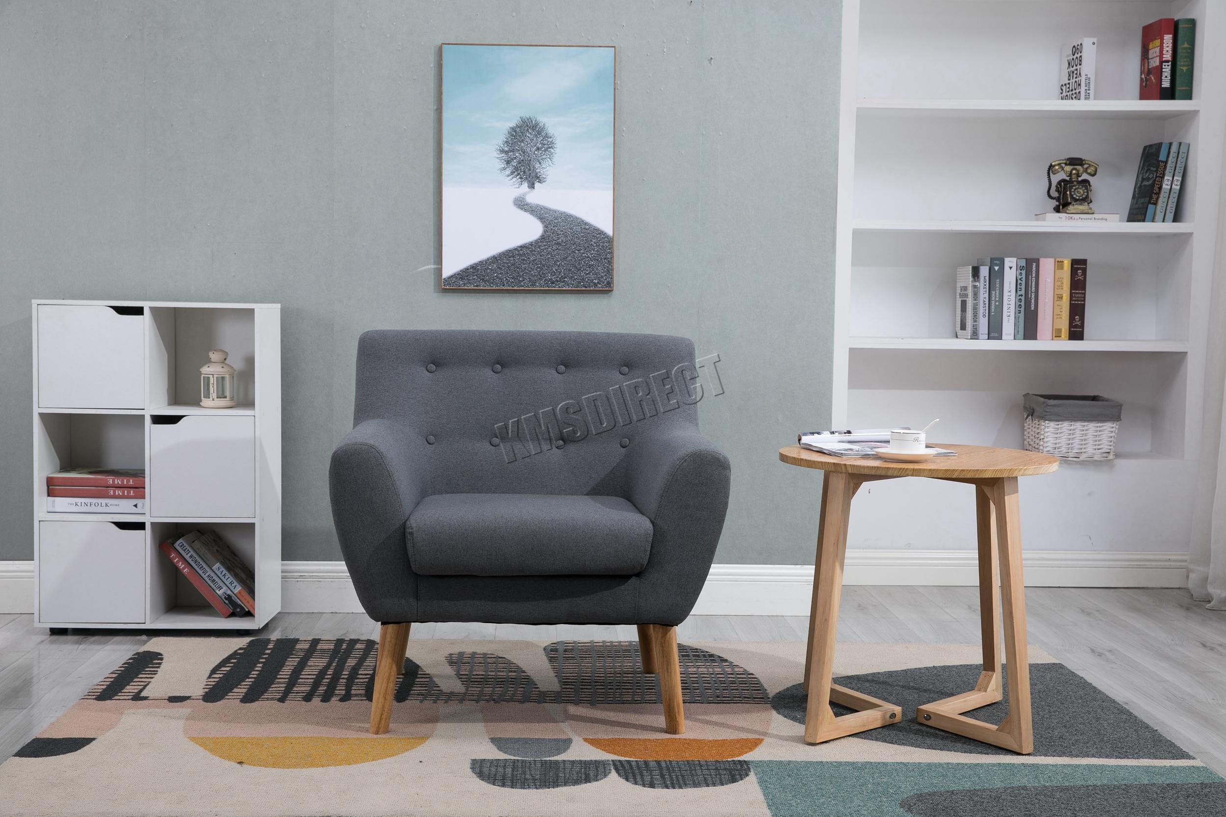 Westwood Linen Fabric 1 Single Seat Sofa Tub Armchair
