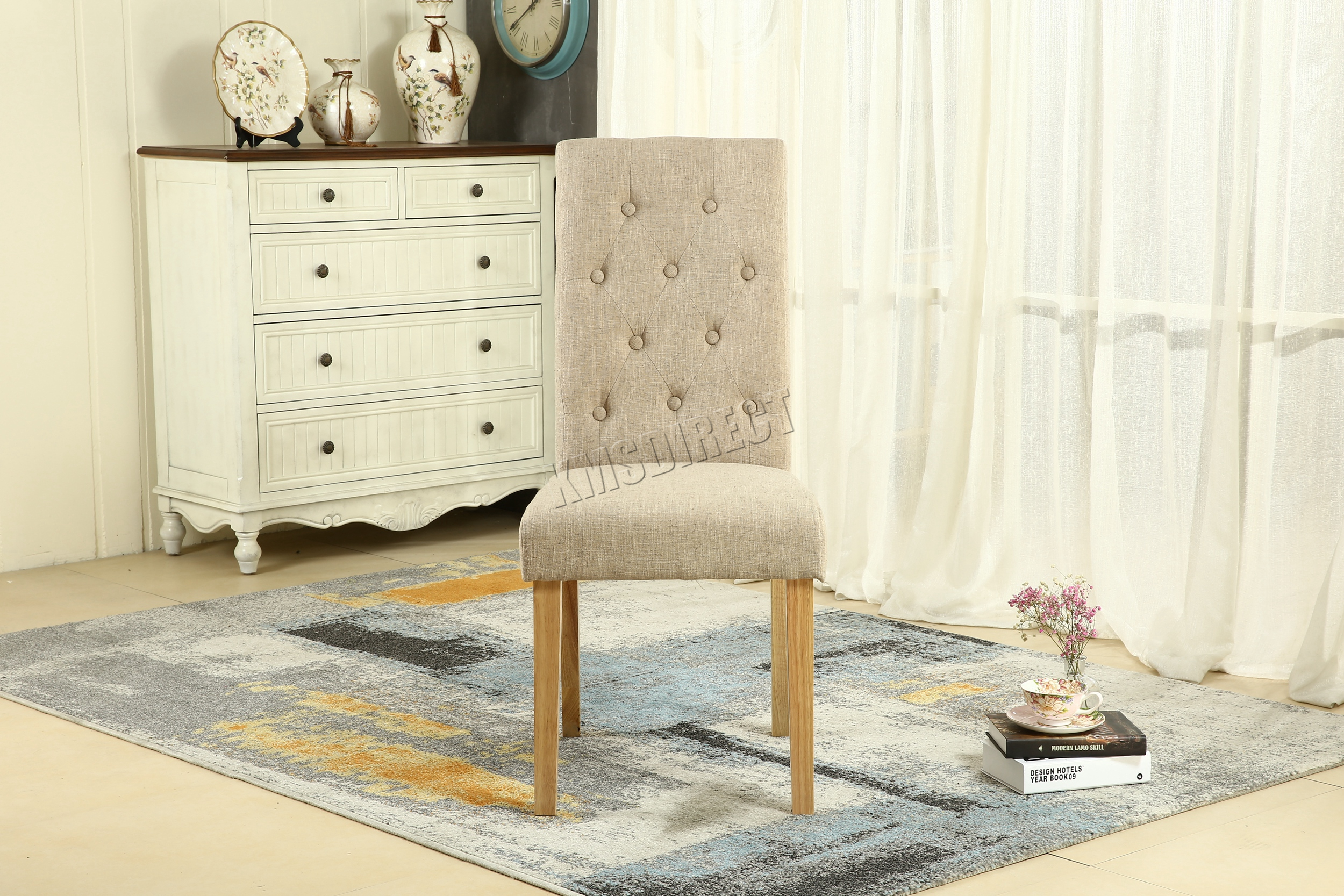 FoxHunter Cream Linen Fabric Dining Chairs Scroll High Back fice