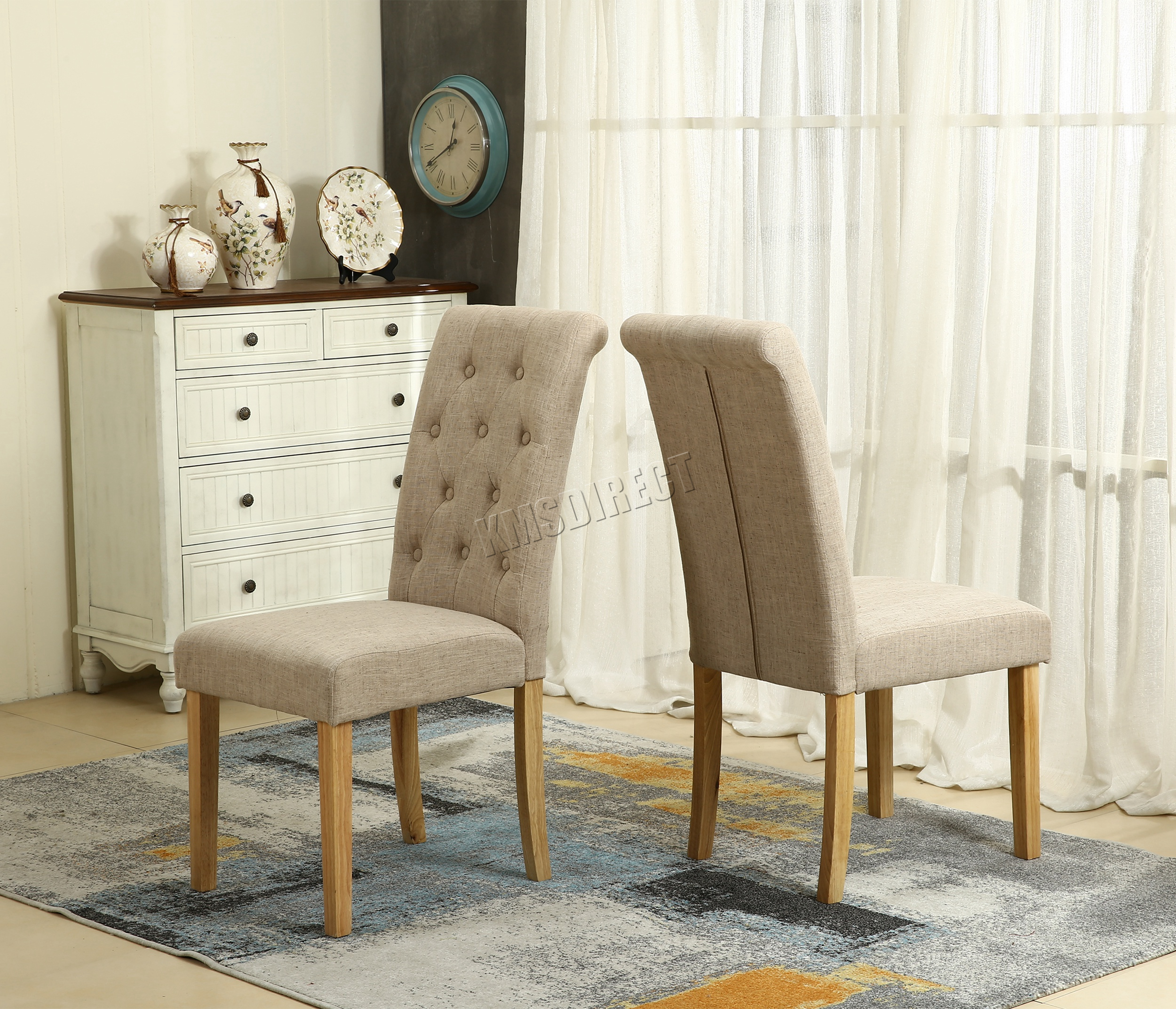 Westwood Linen Fabric Dining Chairs Scroll High Back