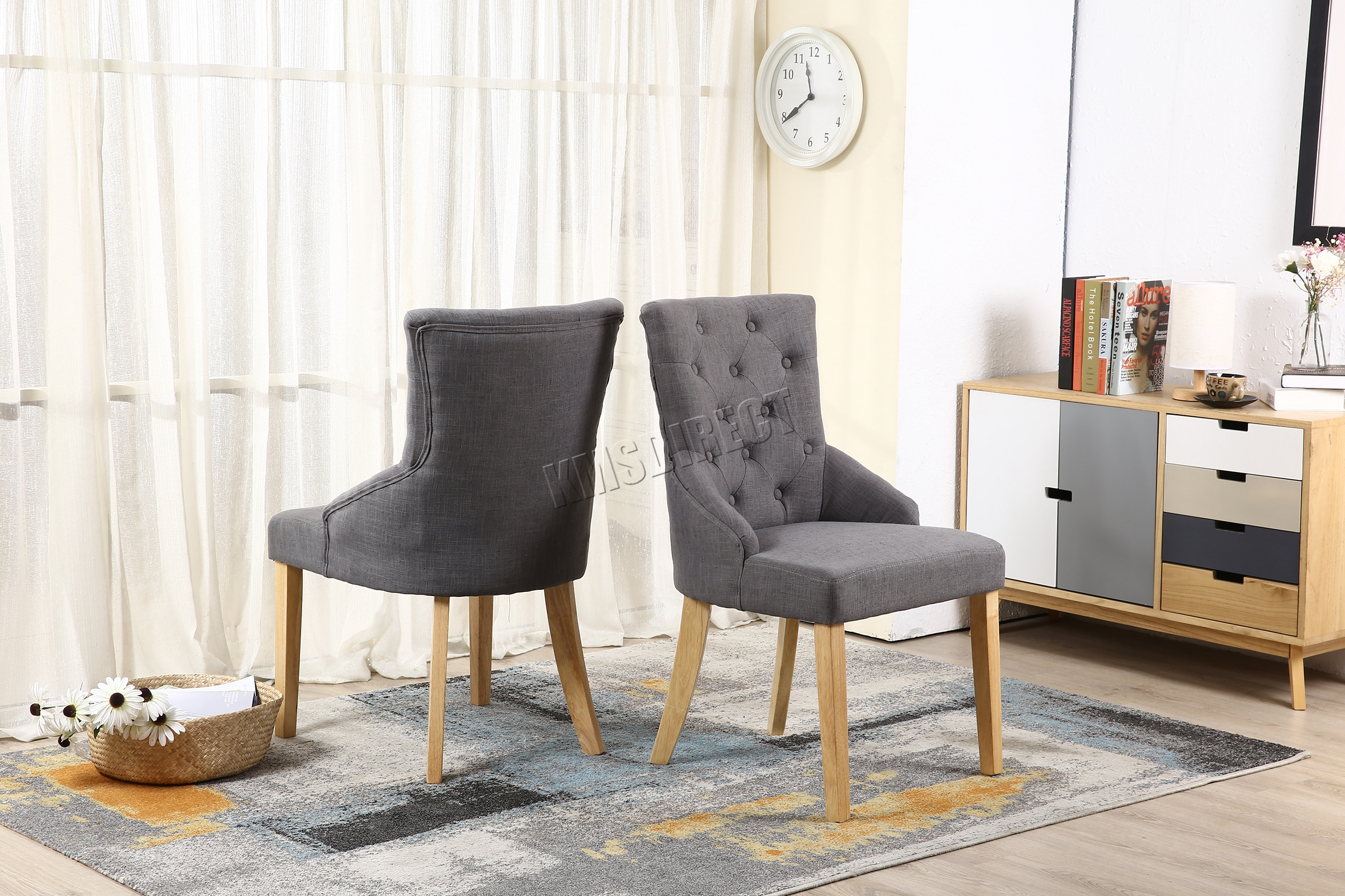 Spare Repair Grey Linen Fabric Dining Chairs Scoop Button Back