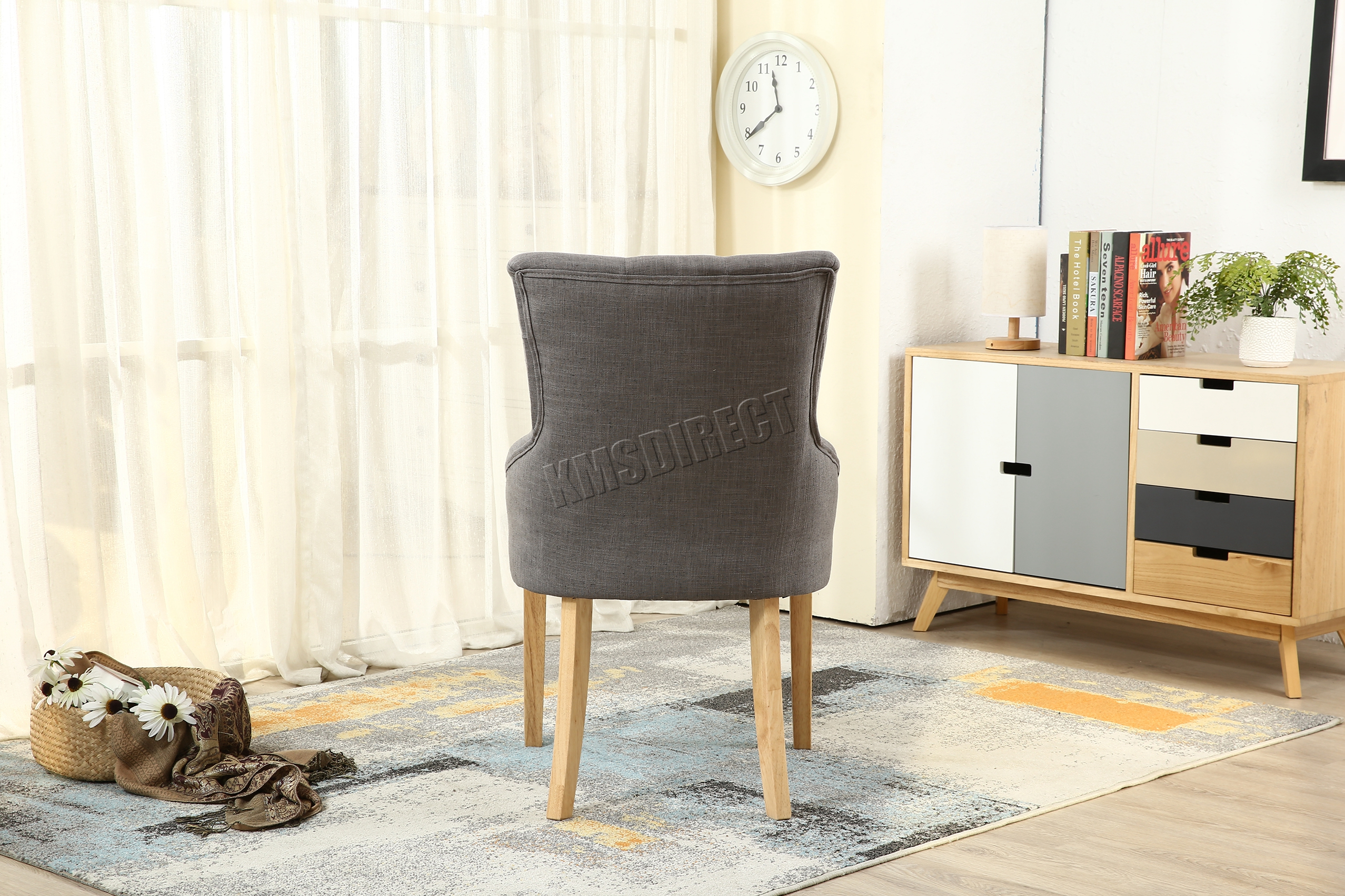 WestWood New Linen Fabric Dining Chairs Scoop Button Back fice
