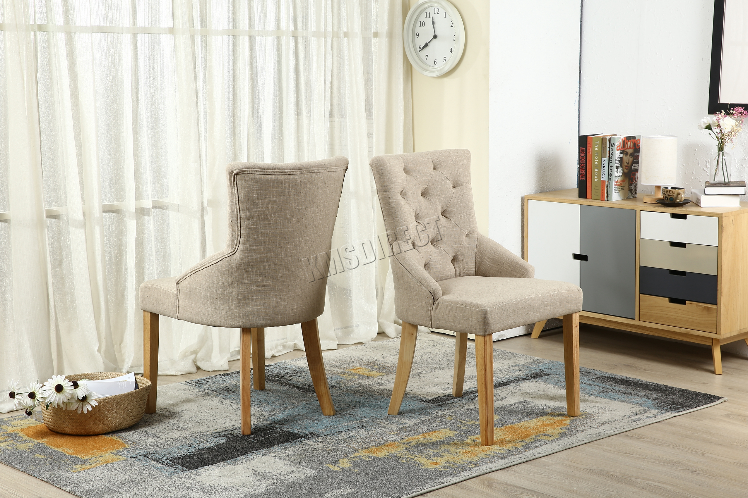 Image Is Loading Foxhunter New Cream Linen Fabric Dining Chairs Scoop