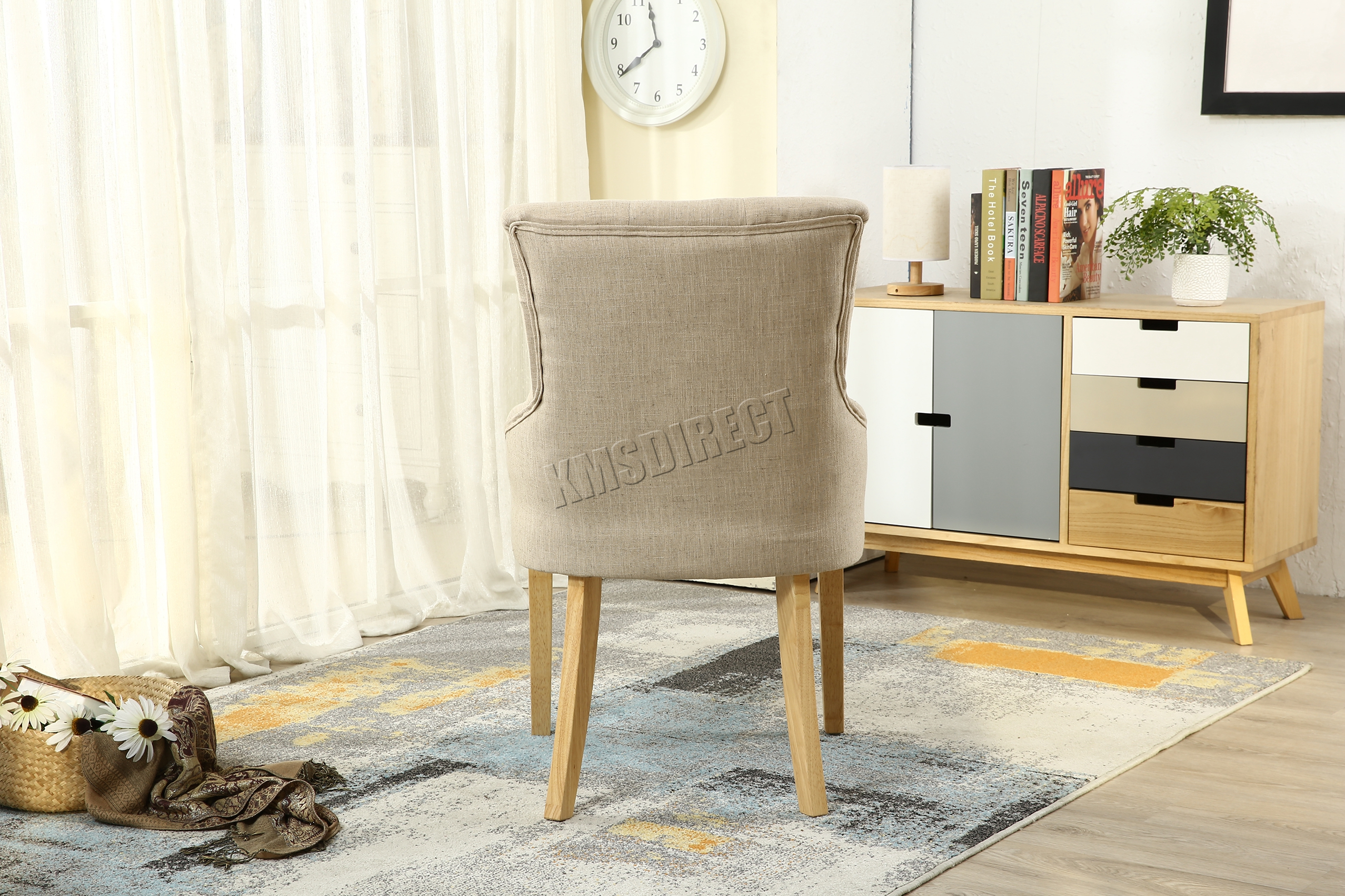 FoxHunter New Cream Linen Fabric Dining Chairs Scoop Tufted Back