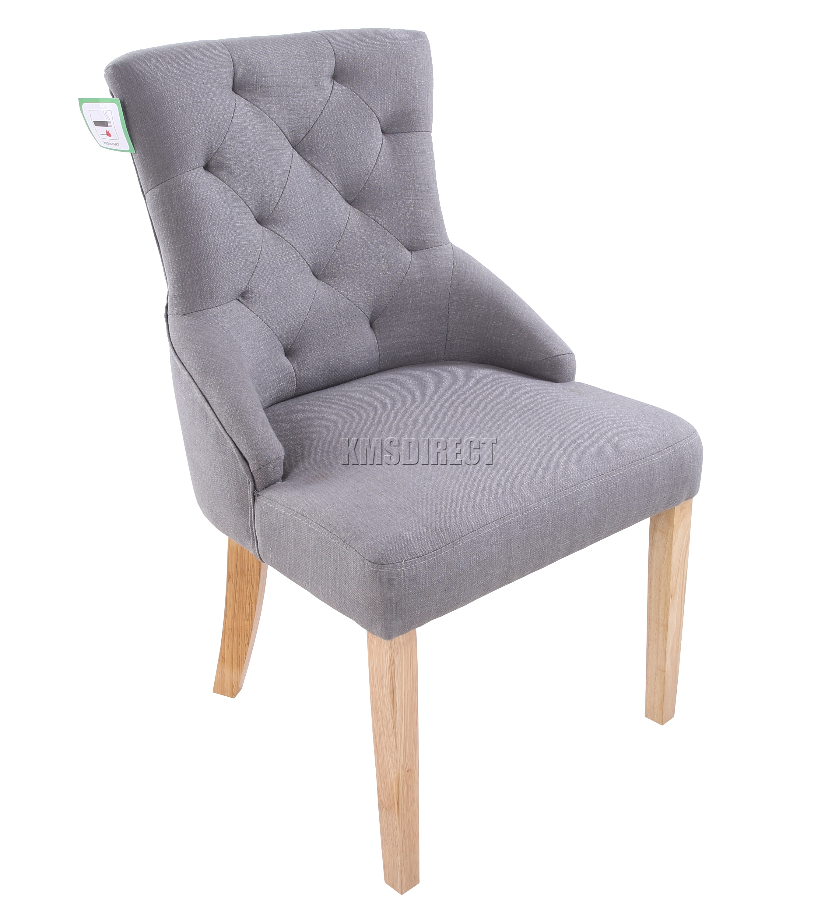 FoxHunter New Grey Linen Fabric Dining Chairs Scoop Tufted Back