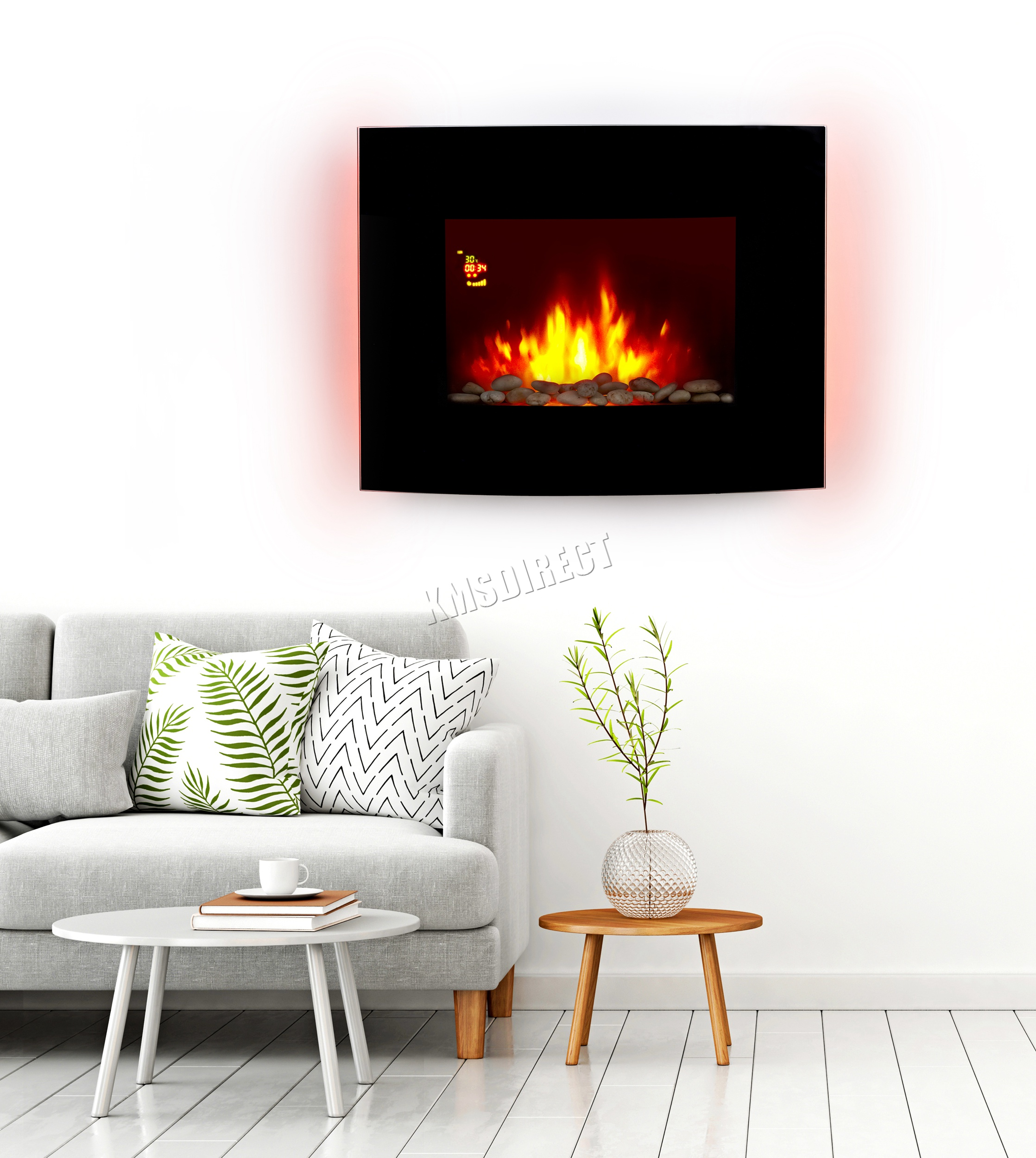 support mural lectrique chemin e radiateur verre feu t l commande ebay. Black Bedroom Furniture Sets. Home Design Ideas